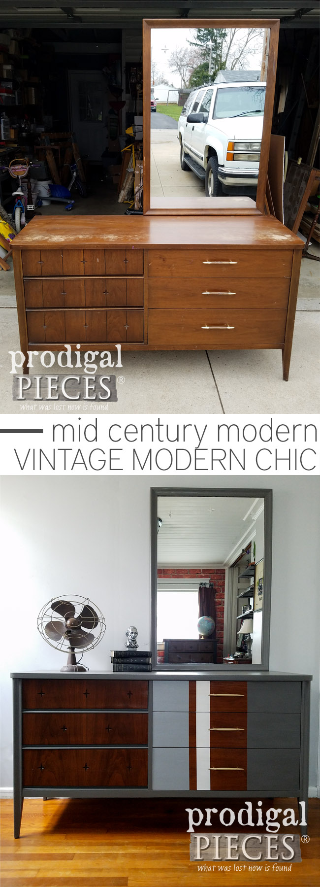 From dull and dated to modern chic. This vintage Broyhill Saga dresser got the update it needed to give it new life. New look done by a teen and can be seen at Prodigal Pieces | prodigalpieces.com