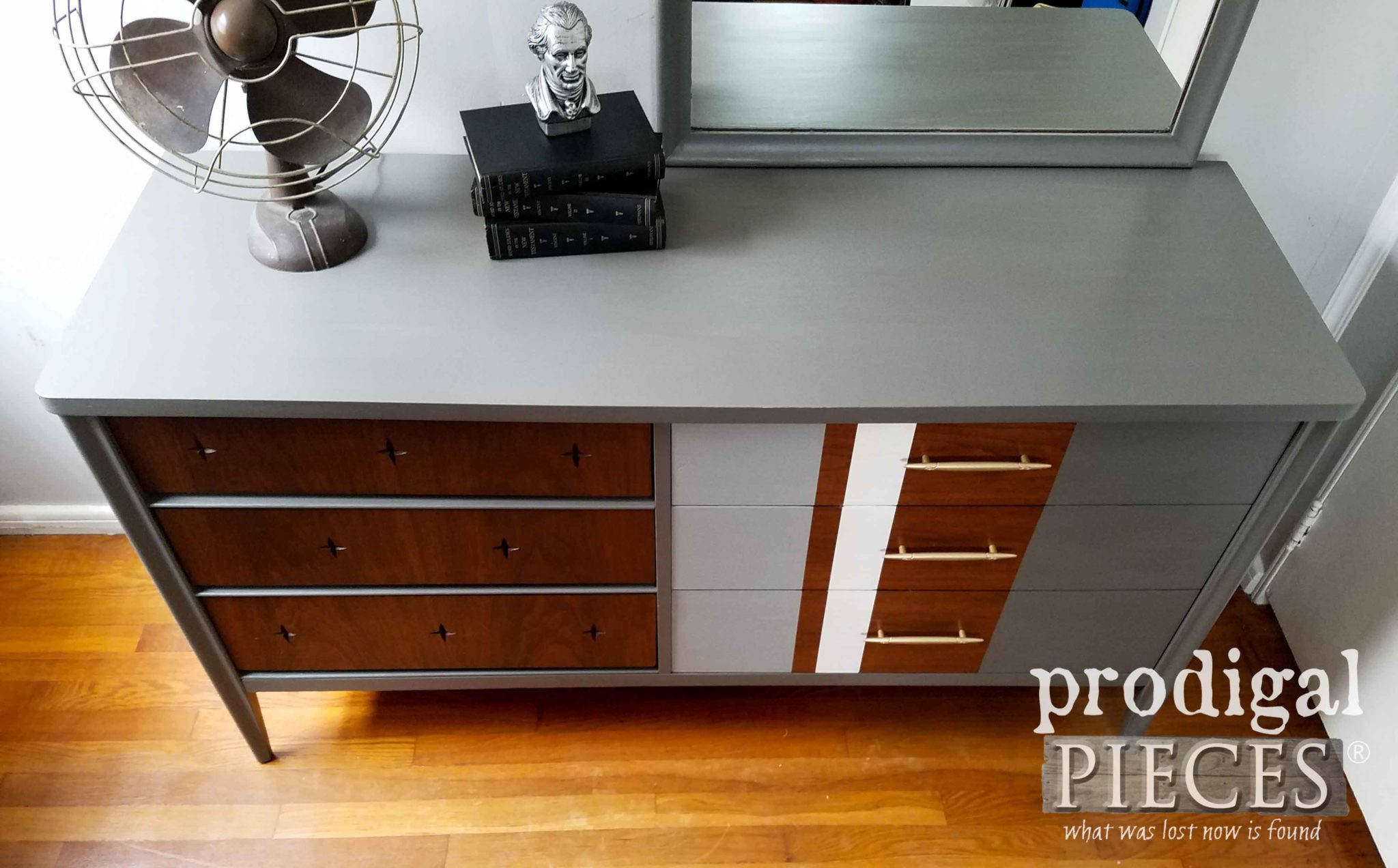 Mid Century Modern Dresser in Dixie Belle Grays and Whites for and Updated Look by Prodigal Pieces | prodigalpieces.com
