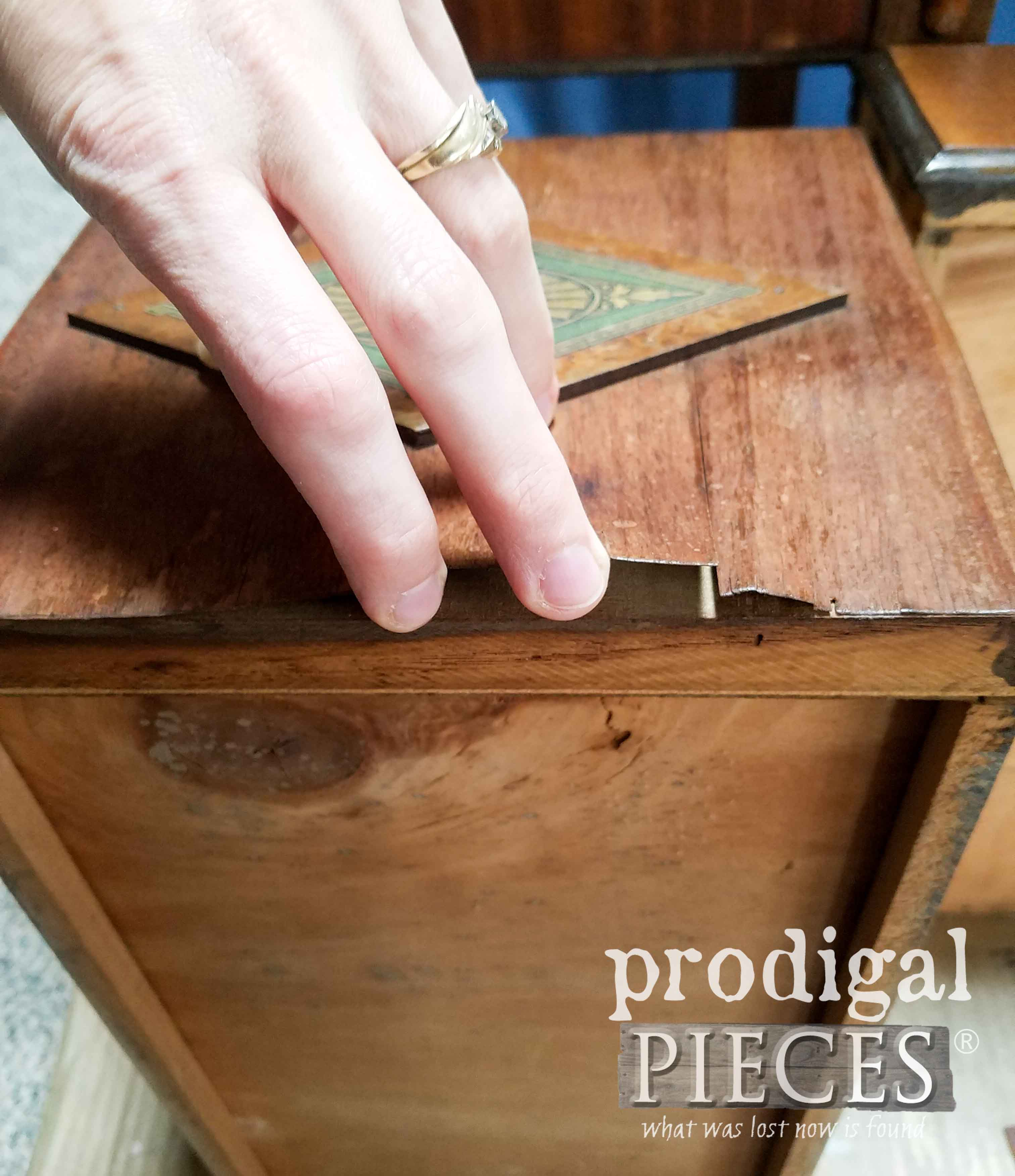 Peeling Veneer on Antique Vanity Drawer | prodigalpieces.com