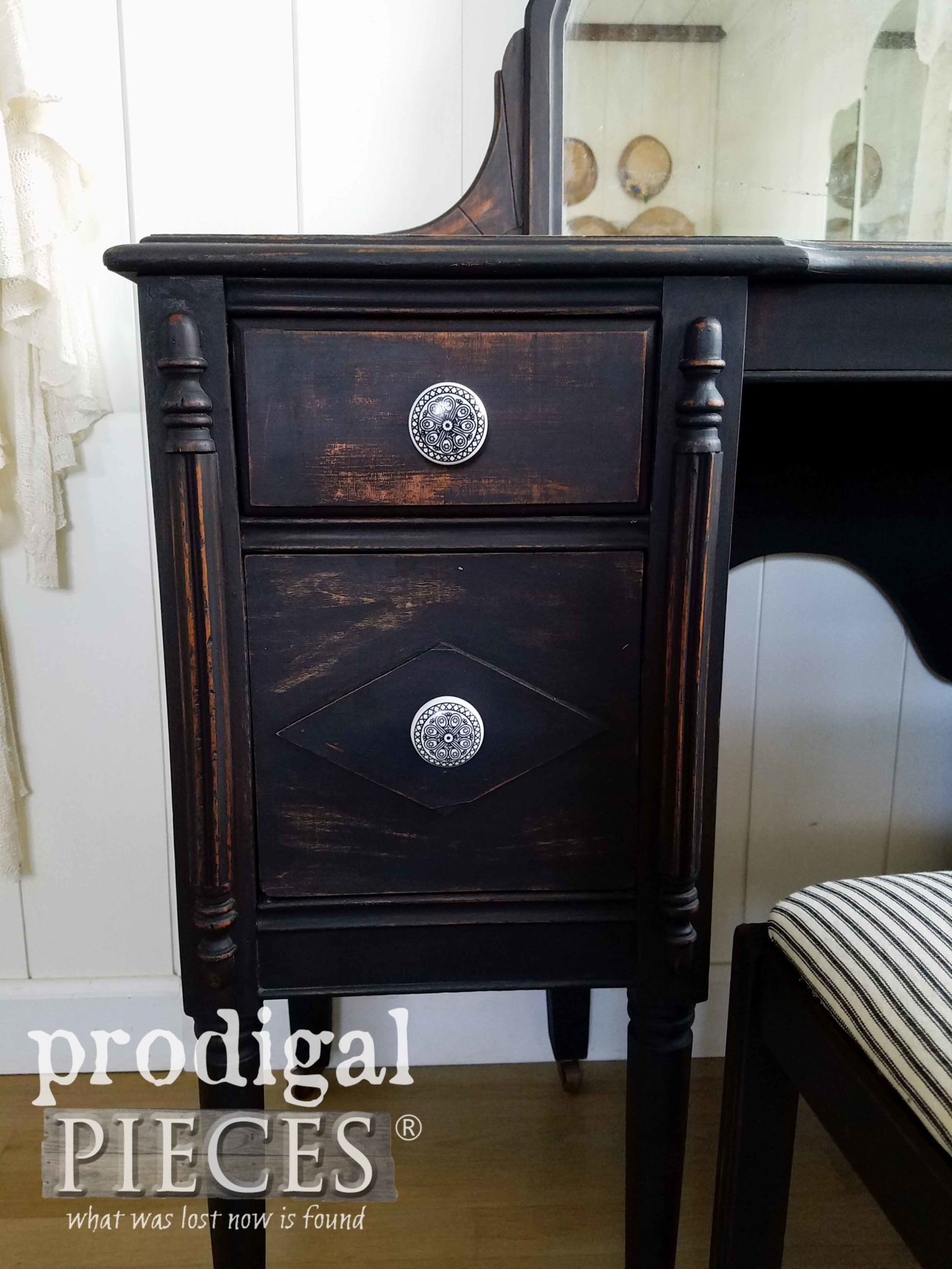 Porcelain Painted Knobs with Black Scrollwork by Larissa of Prodigal Pieces | prodigalpieces.com