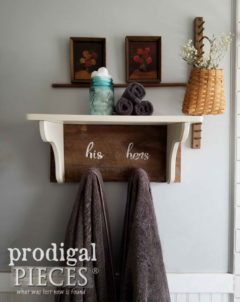Reclaimed Barn Wood Farmhouse Towel Rack Shelf with His and Hers Typography on Barn Wood by Larissa & Son of Prodigal Pieces | prodigalpieces.com