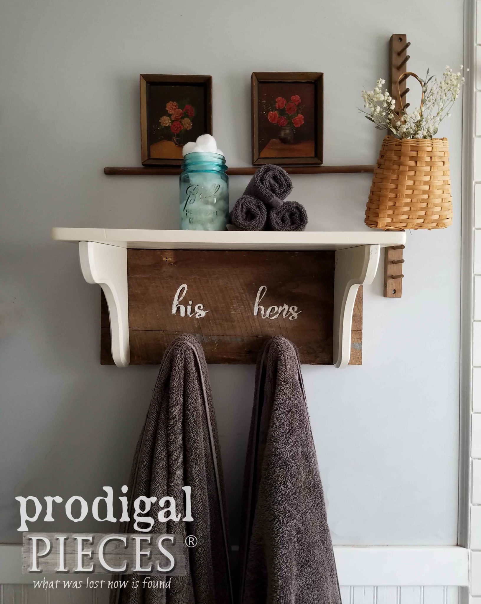 Reclaimed Wood Shelf with His and Hers Typography on Barn Wood by Larissa & Son of Prodigal Pieces | prodigalpieces.com
