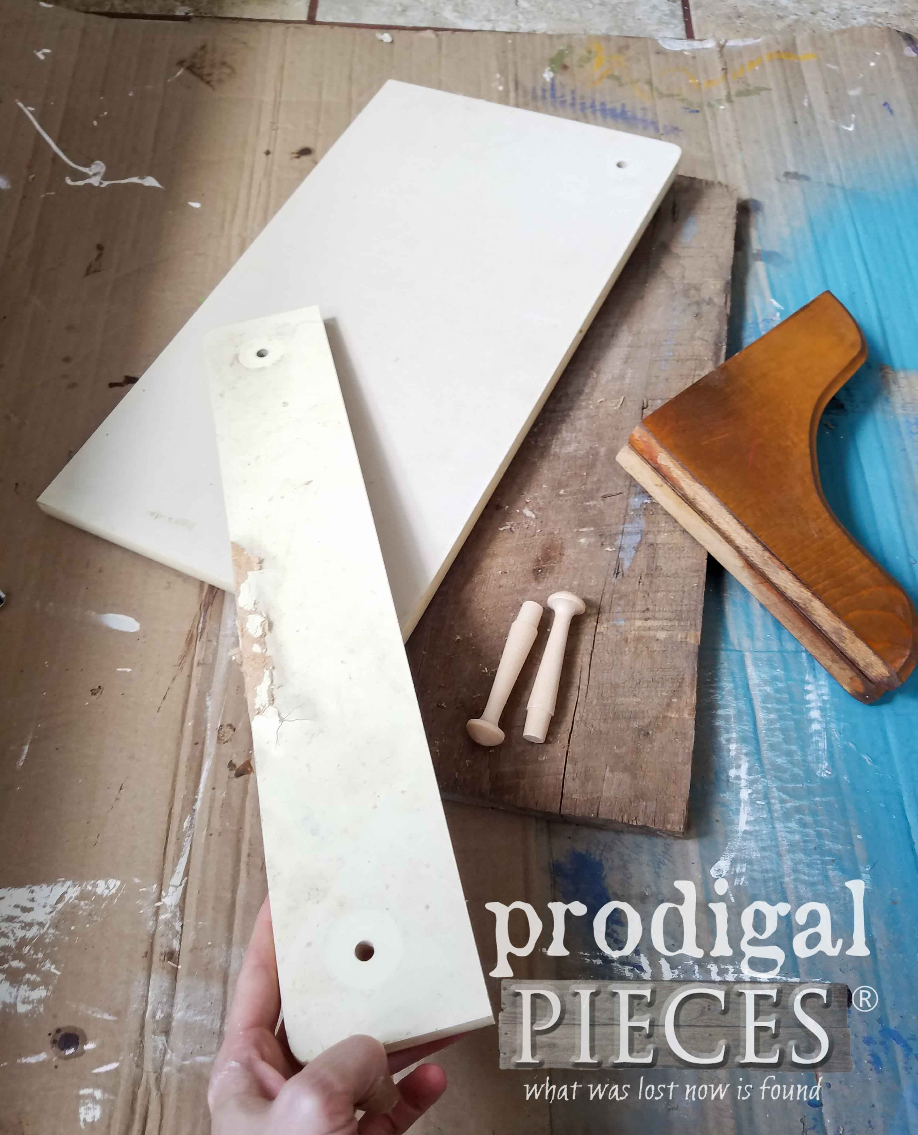 Repurposed Side Table Parts for DIY Reclaimed Shelf by Prodigal Pieces | prodigalpieces.com