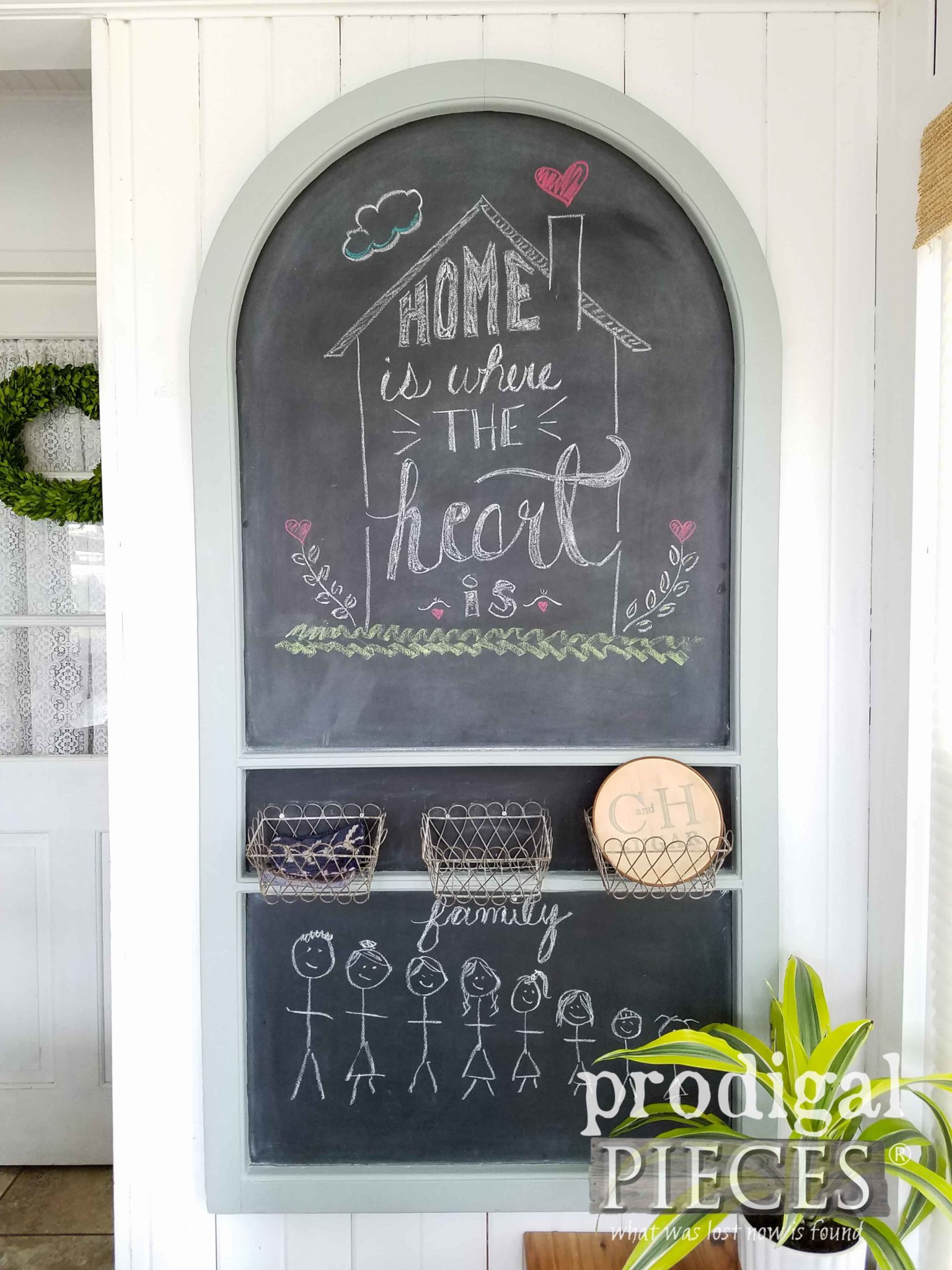 "Repurposed Door Chalkboard with ""Home is Where the Heart Is"" Chalk Art by Prodigal Pieces 