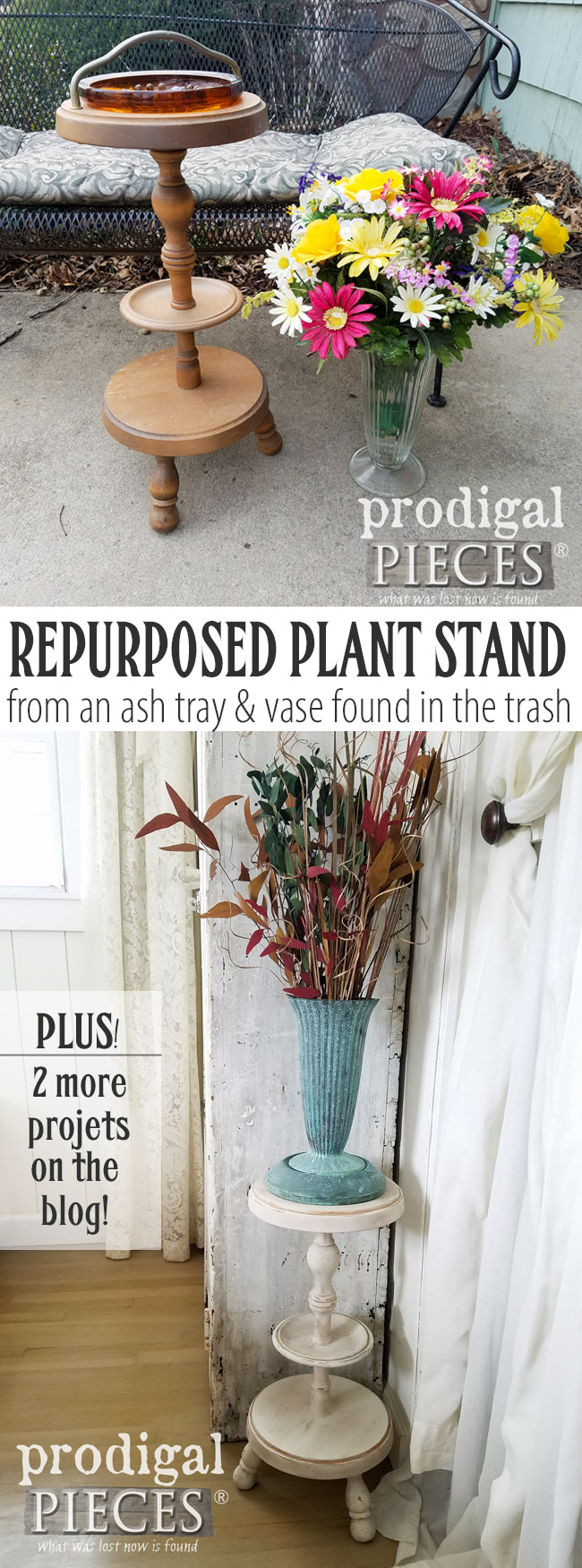 How cool is that?! A trashed ash tray and vase of flowers become a repurposed plant stand with faux patina by Larissa of Prodigal Pieces. PLUS, see the other two projects created from these #trashure finds. | Details at prodigalipieces.com