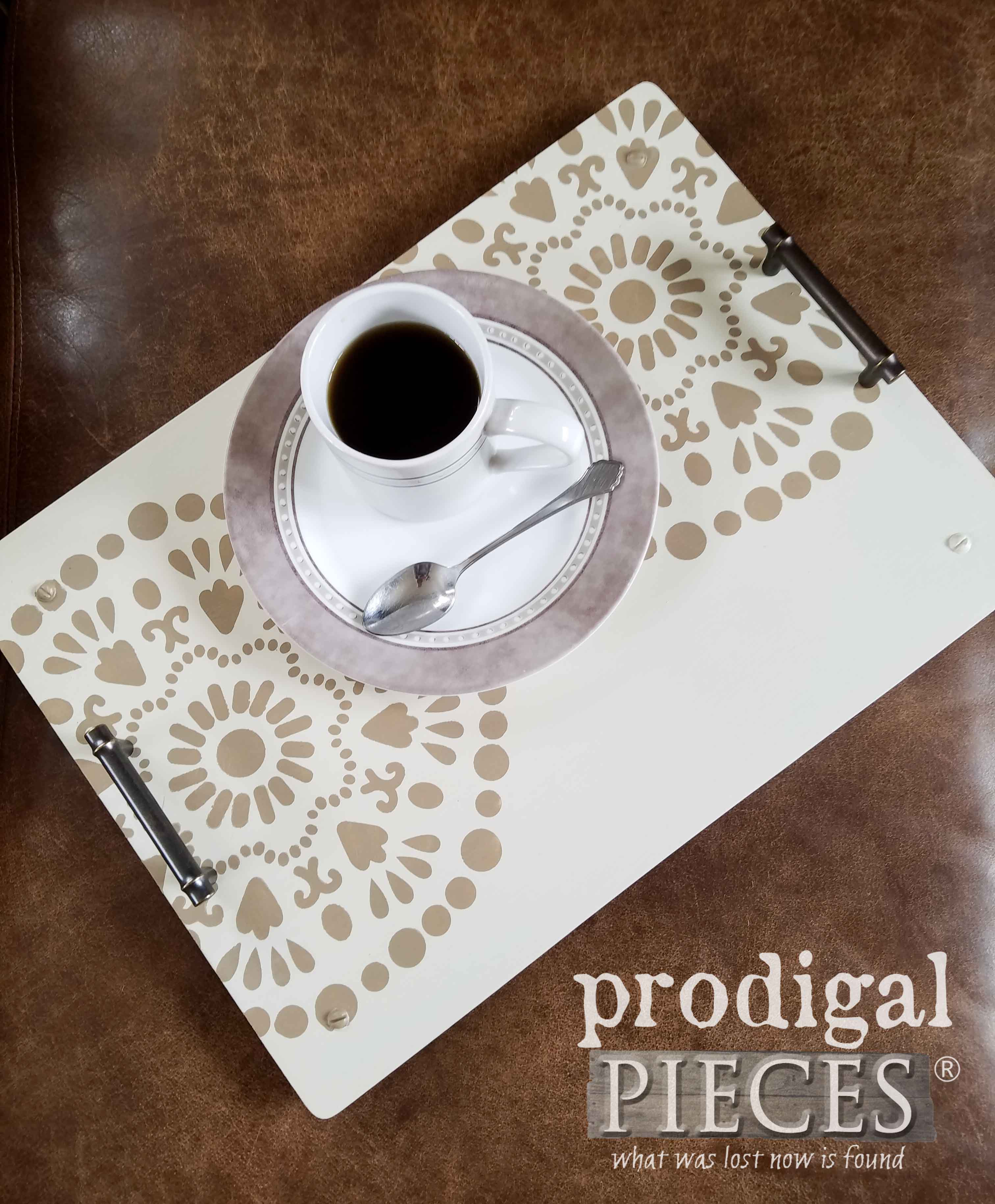 Repurposed Farmhouse Serving Tray Centerpiece by Larissa & Son of Prodigal Pieces | prodigalpieces.com