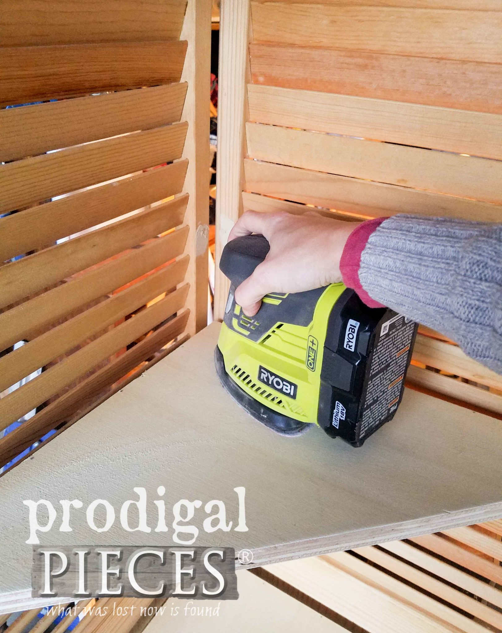 Ryobi Corner Cat for Sanding Upcycled Louver Door Corner Shelf by Larissa of Prodigal Pieces | prodigalpieces.com