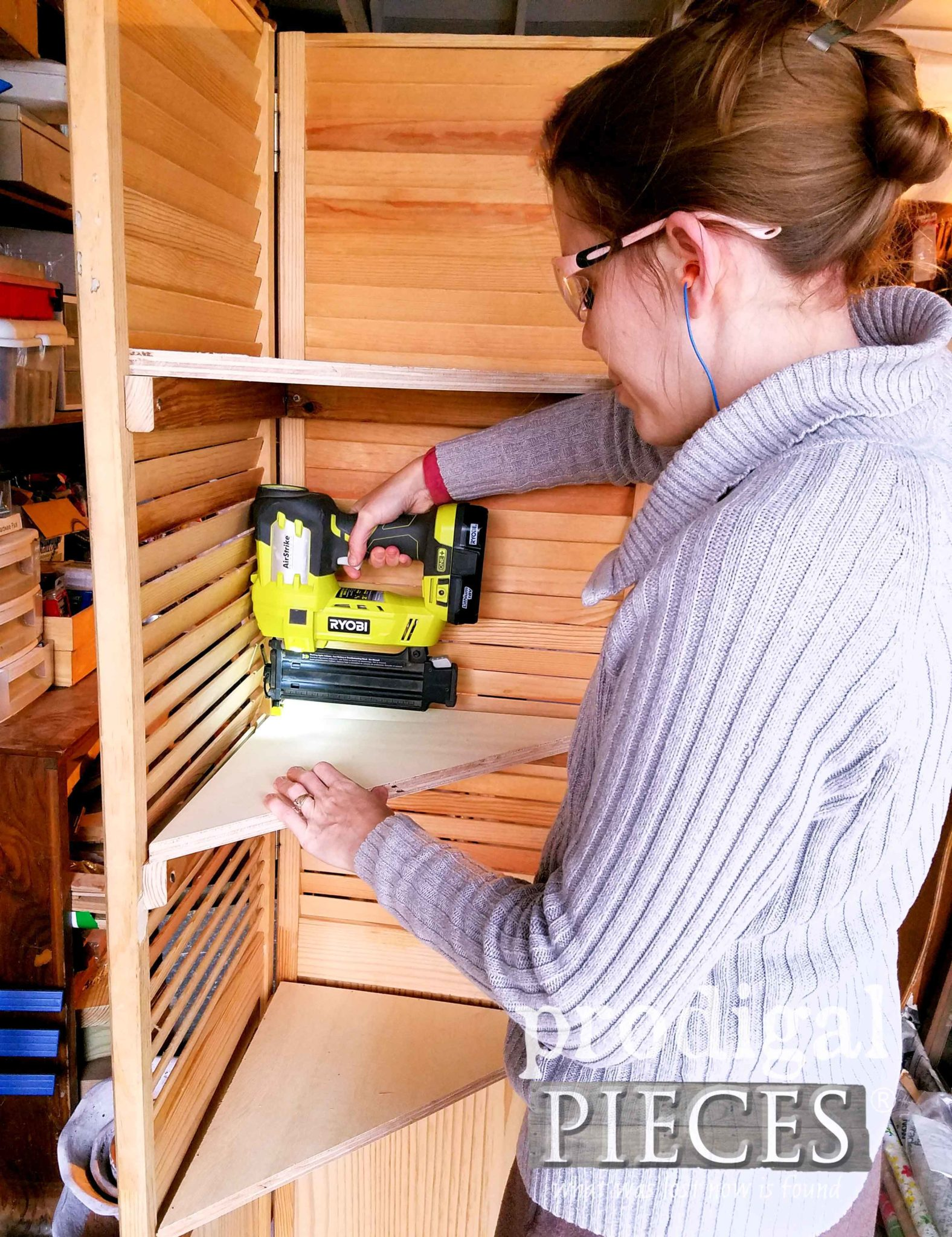 Ryobi Nailer to Add Corner Shelves to DIY Corner Shelf by Larissa of Prodigal Pieces | prodigalpieces.com