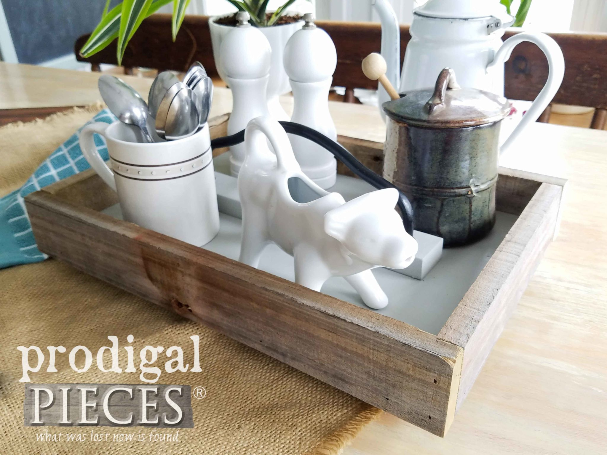 Rustic Farmhouse Table Tray for your Kitchen, Bath, Bedroom and more by Larissa of Prodigal Pieces | prodigalpieces.com