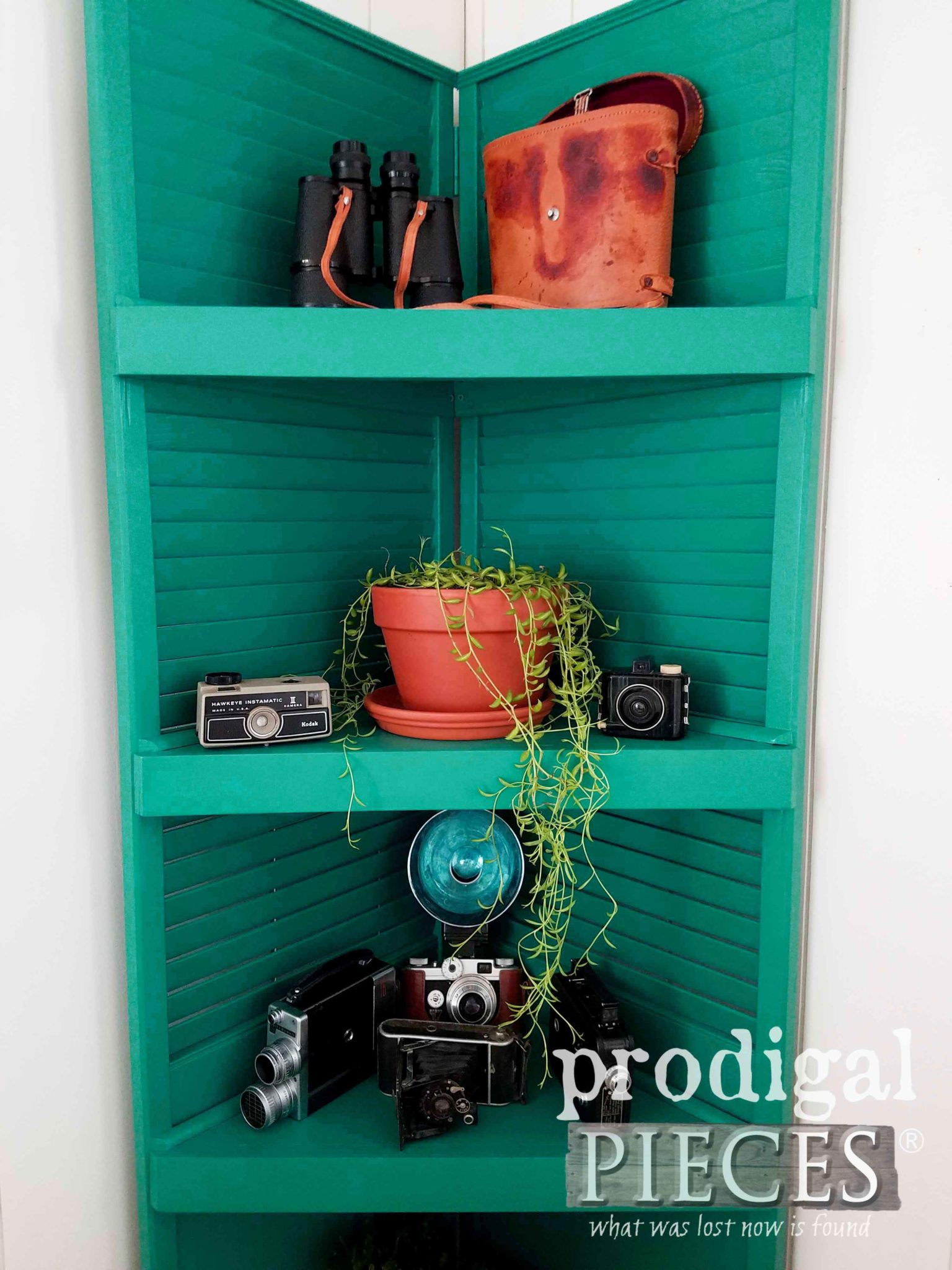 Teal Green Upcycled Louver Door Shelf with Boho Decor by Larissa of Prodigal Pieces | prodigalpieces.com