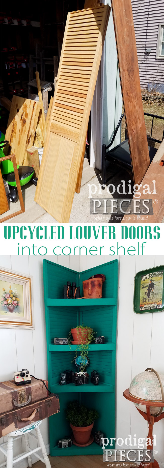 Grab those old louver doors and get your build on! You can create this upcycled louver door corner shelf with a few basic supplies and the right tools. Come get the tutorial by Larissa of Prodigal Pieces at prodigalpieces.com