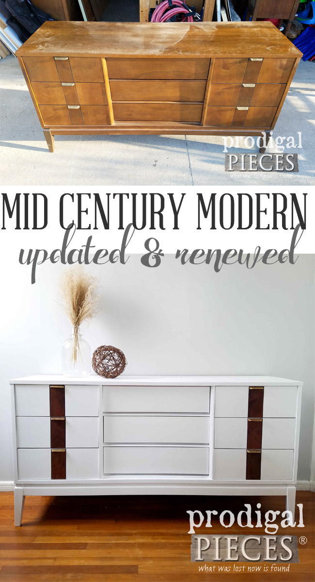 What a fresh new look this updated Mid Century Modern Dresser has now. With some DIY skills and spirit, Larissa of Prodigal Pieces made it anew. See details at prodigalpieces.com