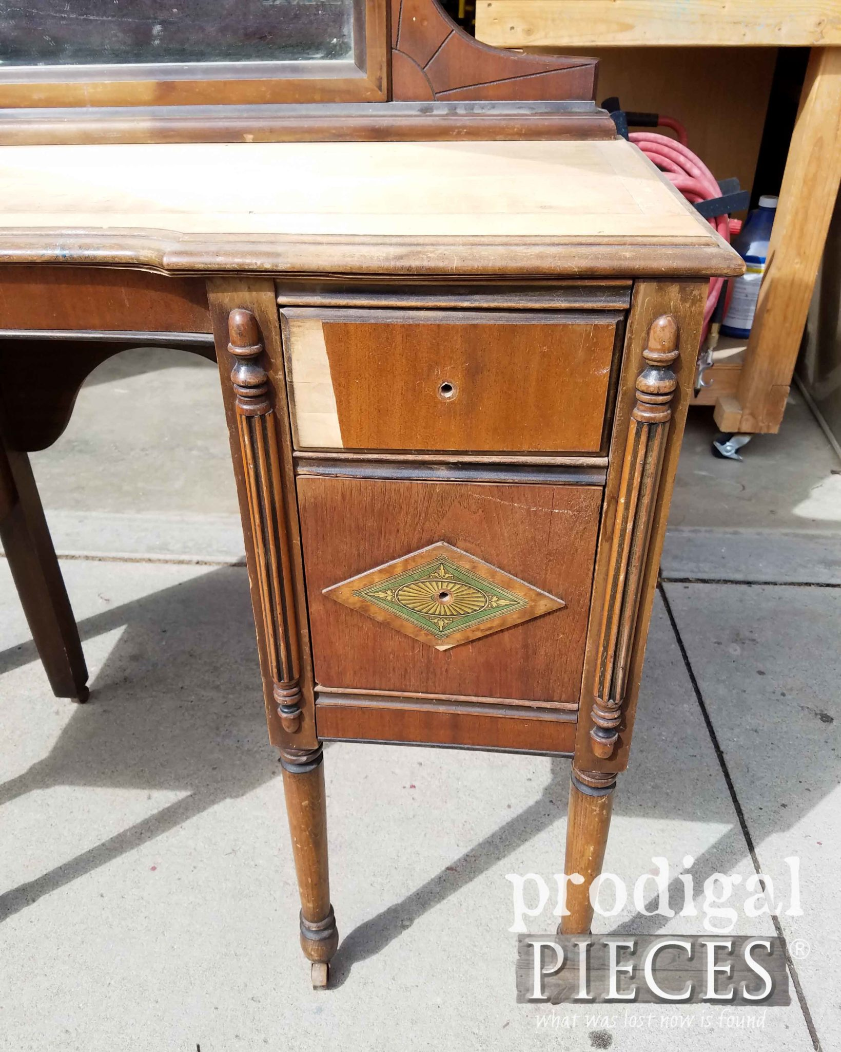 Antique Vanity Drawer with Missing Veneer | prodigalpieces.com