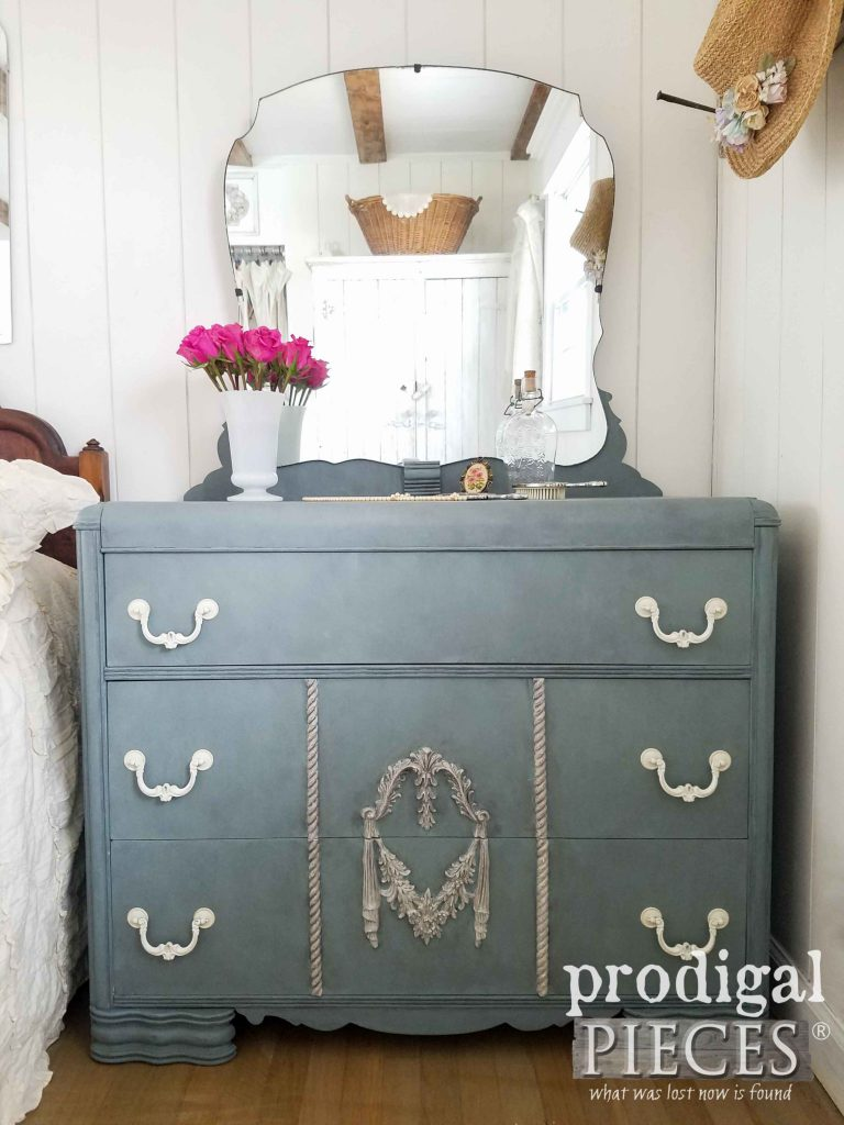 Vintage Art Deco Waterfall Dresser with Mirror by Prodigal Pieces | prodigalpieces.com