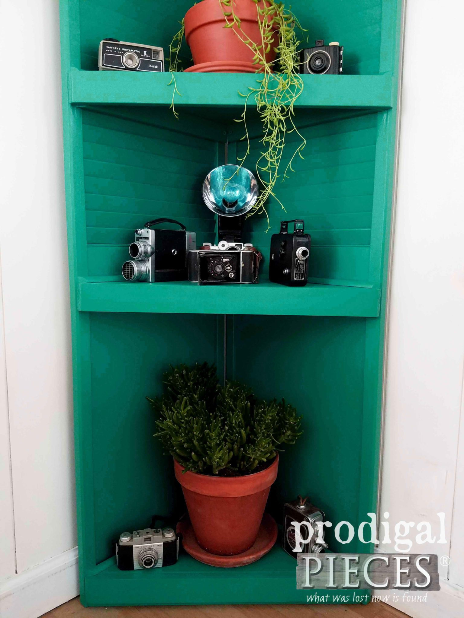 Vintage Boho Decor Featured on Repurposed Louver Door Corner Shelf by Prodigal Pieces | prodigalpieces.com