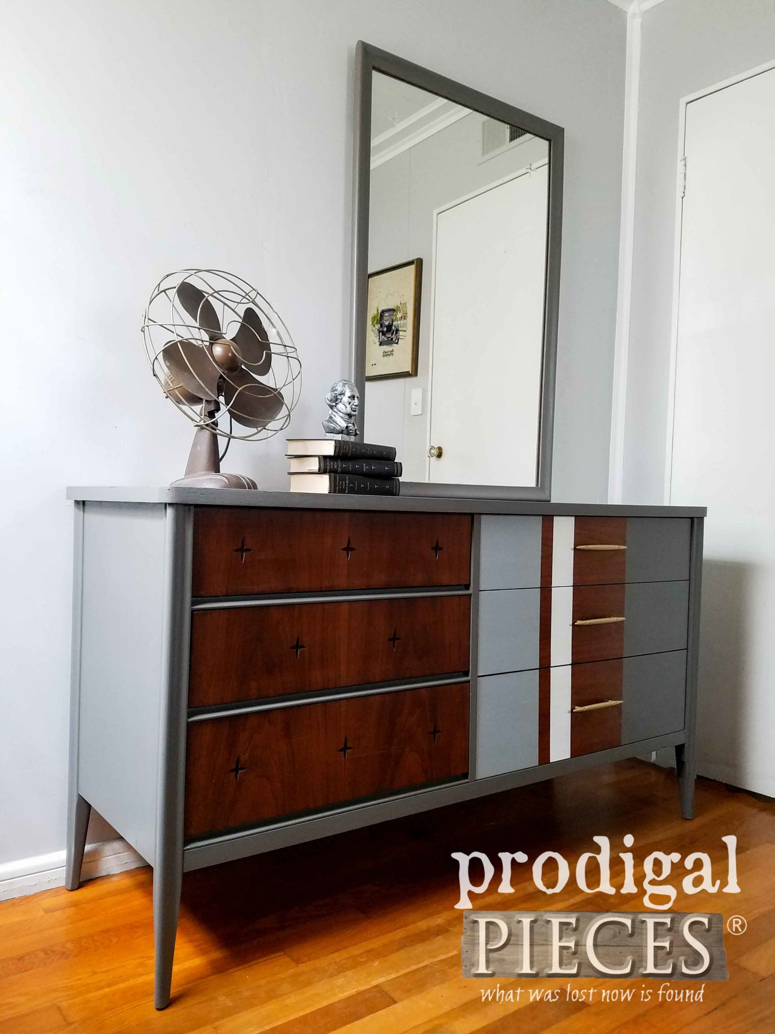 Vintage Broyhill Saga Mirrored Dresser with Modern Chic Vibe by Prodigal Pieces | prodigalpieces.com