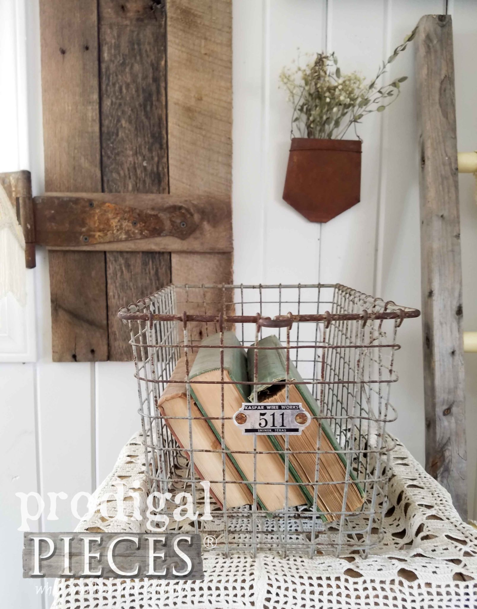 Vintage Locker Basket for Farmhouse Decor by Prodigal Pieces | prodigalpieces.com