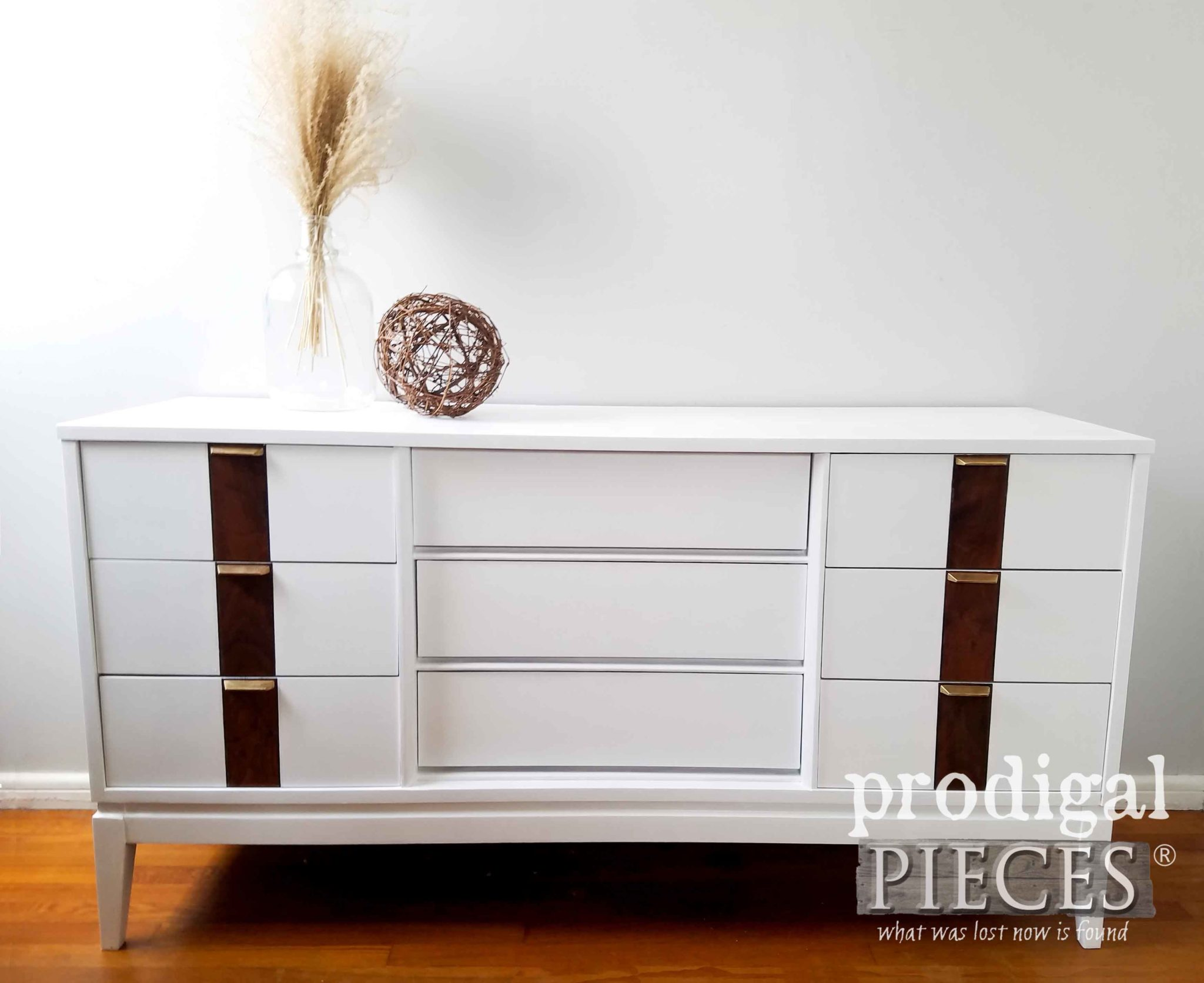 Solid Wood Mid Century Modern Dresser in White made by Stanley | Refinished by Larissa of Prodigal Pieces | prodigalpieces.com