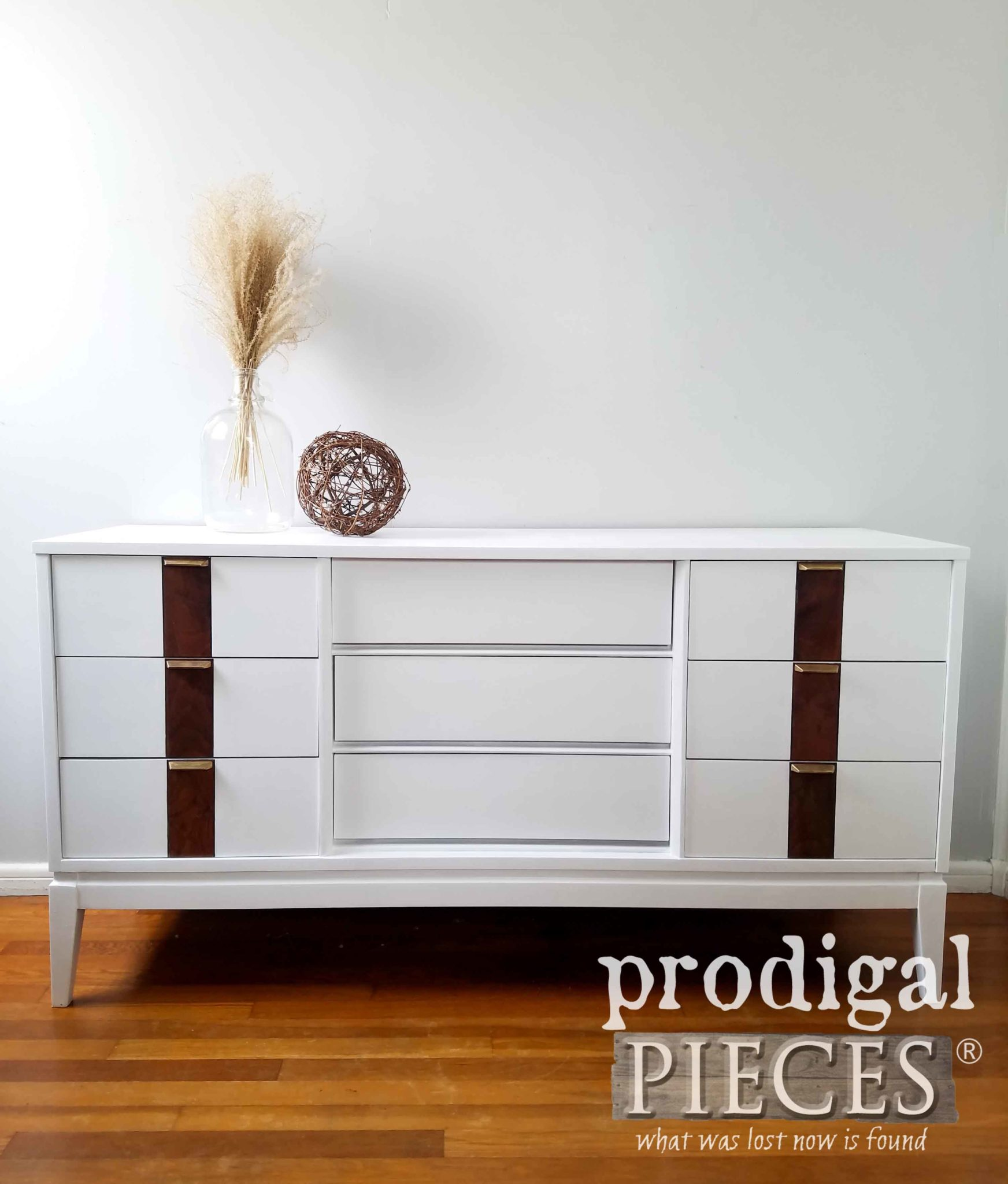 Vintage Stanley Mid Century Modern Dresser Updated with Paint and Stain by Larissa of Prodigal Pieces | prodigalpieces.com