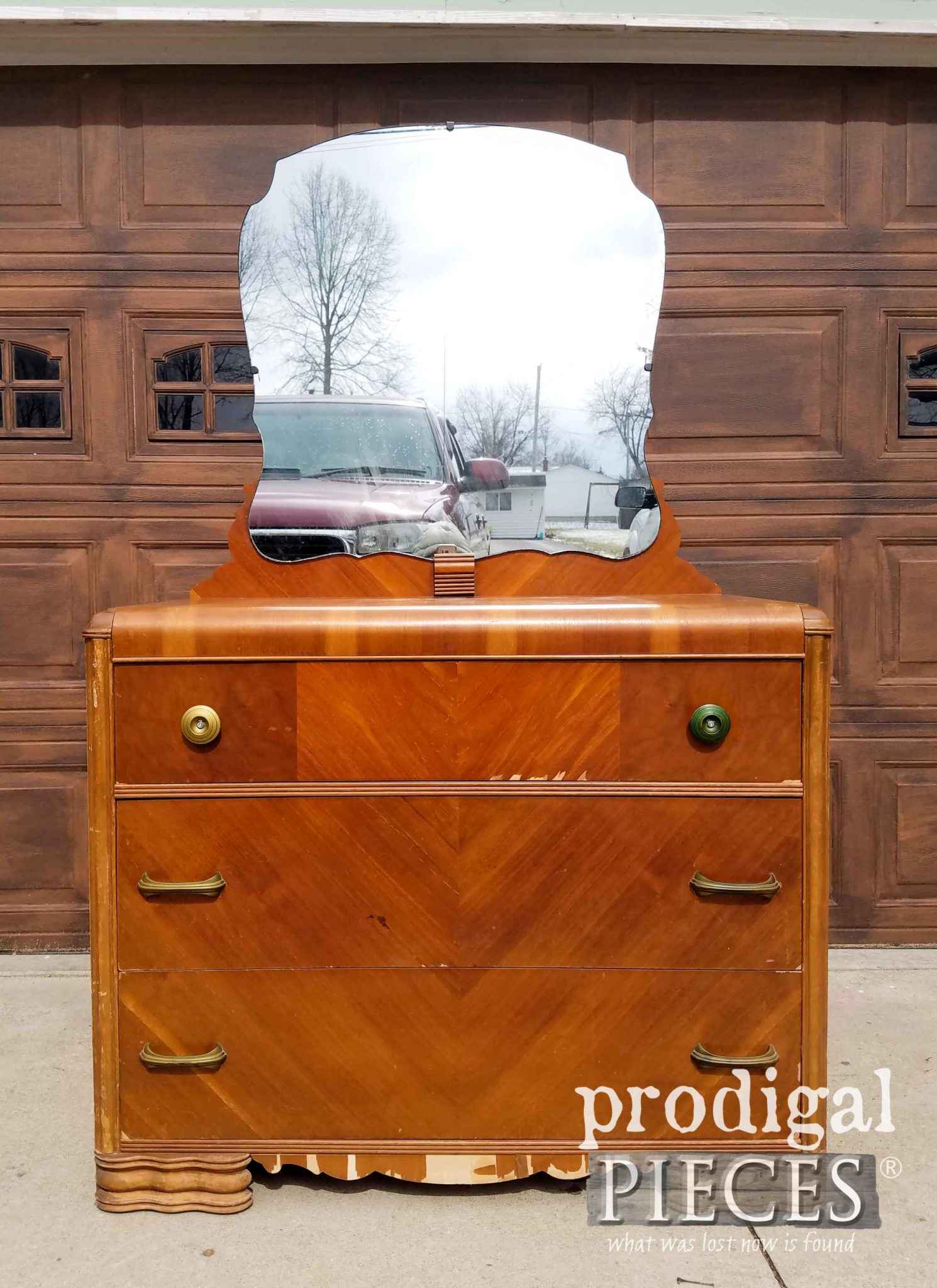 Vintage Waterfall Dresser Before Makeover by Prodigal Pieces | prodigalpieces.com