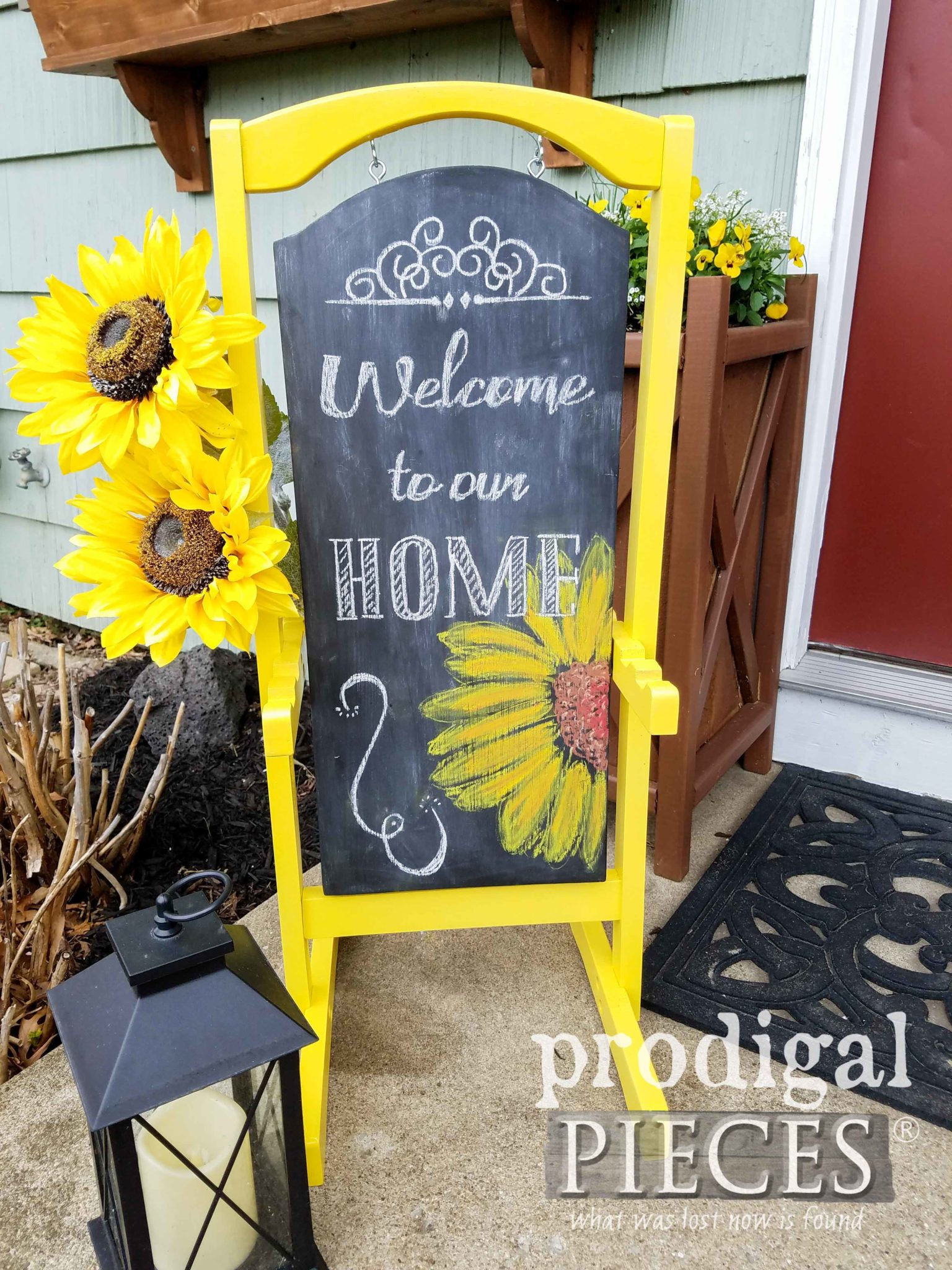 Welcome to Our Home Repurposed Chalkboard Sign by Larissa of Prodigal Pieces | prodigalpieces.com