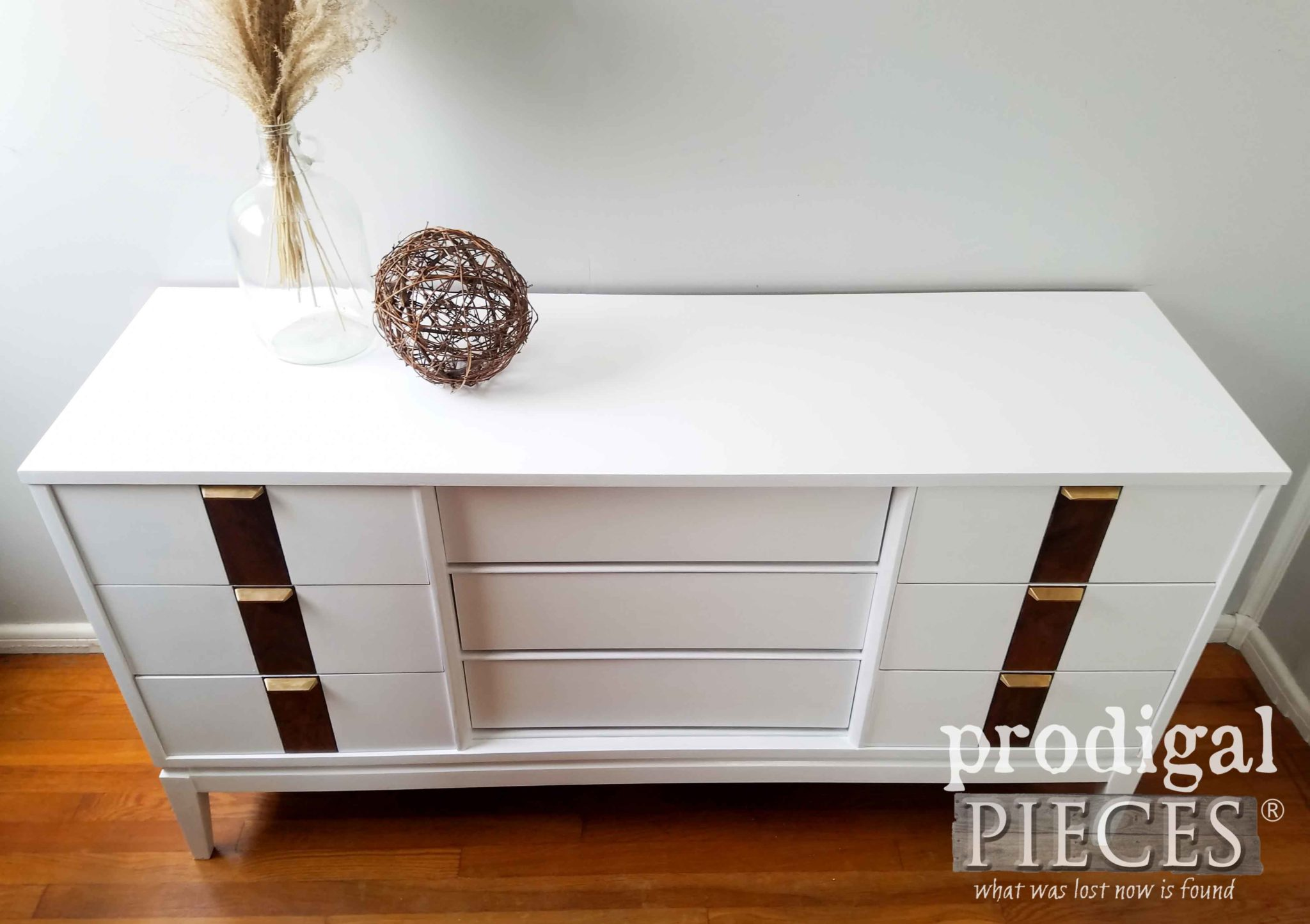 Top View of Vintage Mid Century Modern Dresser with Fresh New Look by Larissa of Prodigal Pieces | prodigalpieces.com