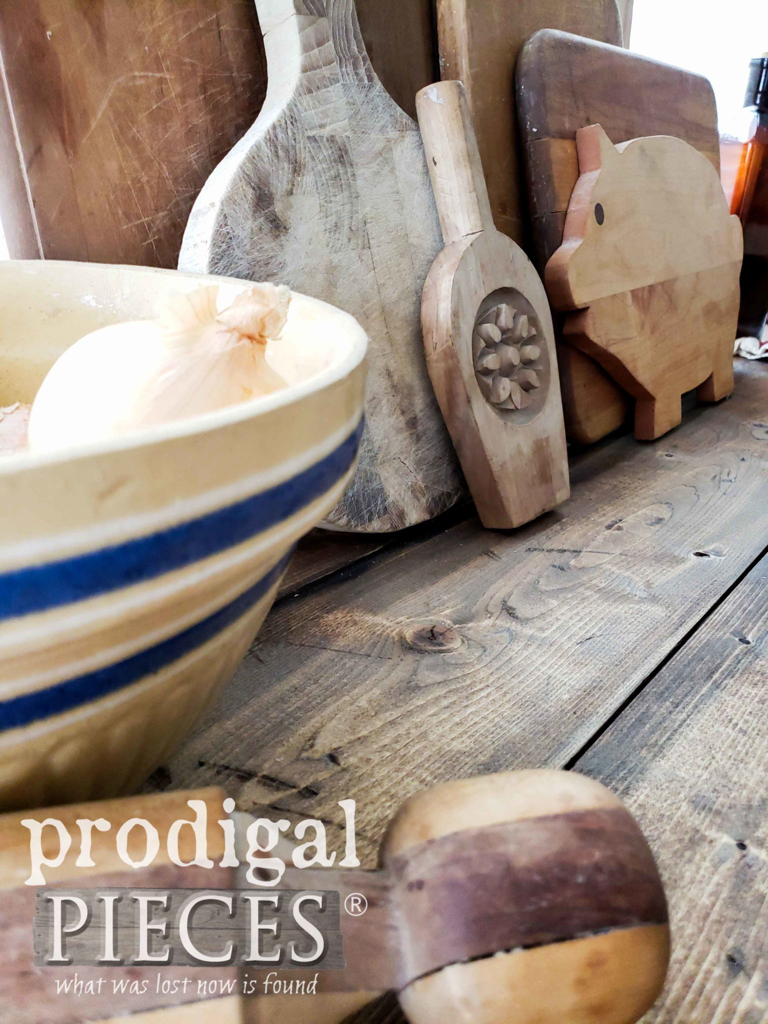 Antique Cutting Boards and Yellow Ware in Farmhouse Kitchen Vignette by Larissa of Prodigal Pieces | prodigalpieces.com