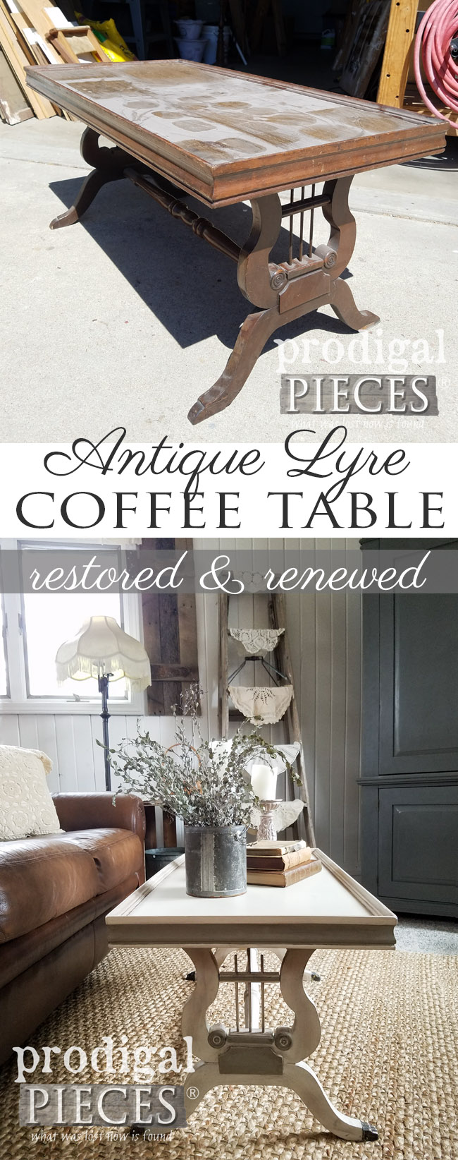 What a save! This broken antique lyre coffee table had seen better days, but Larissa of Prodigal Pieces saw fit to restore it and give it new life. Details at prodigalpieces.com #prodigalpieces #furniture #homedecor #shopping