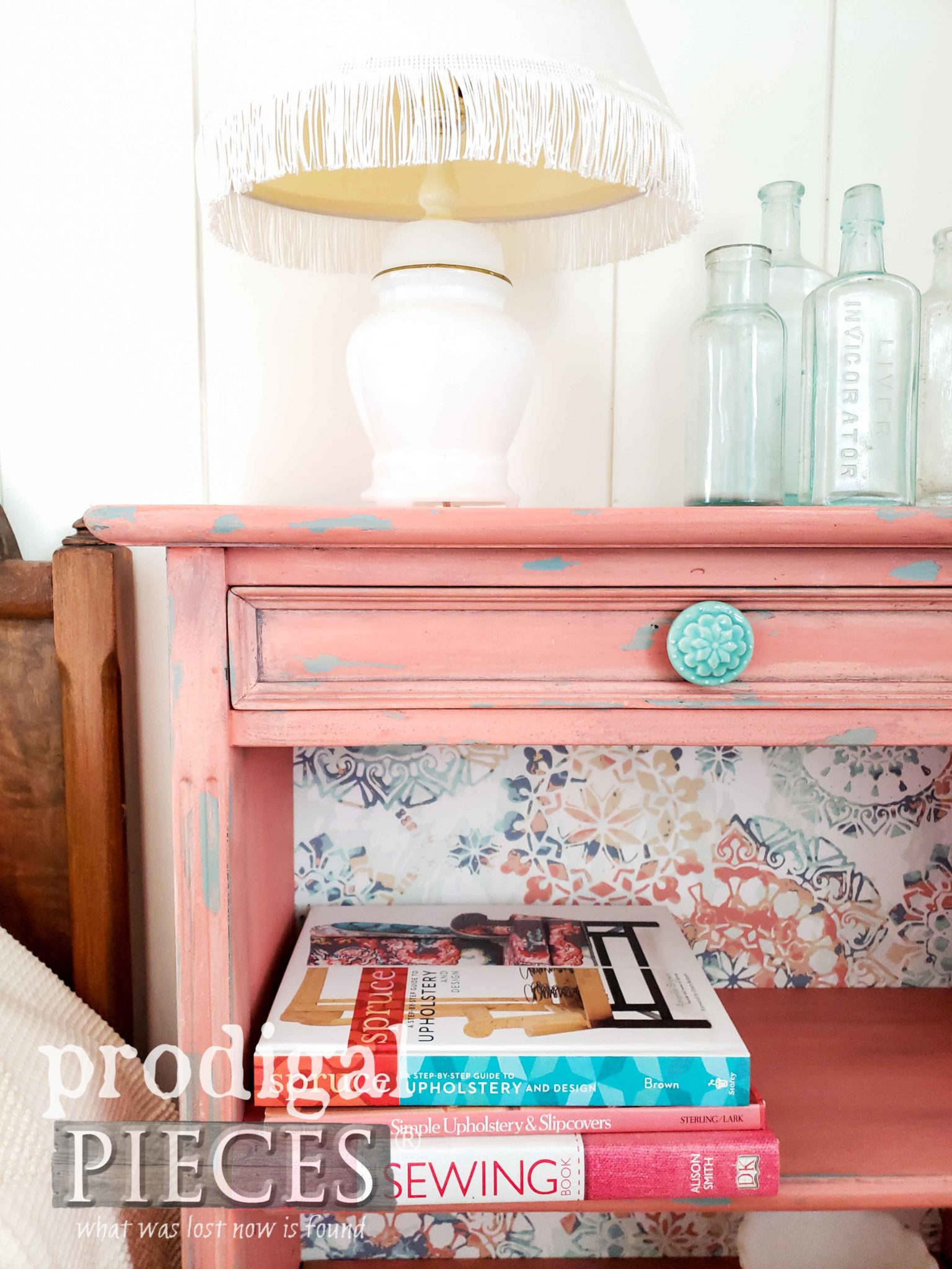 Boho Style Vintage Bookcase in Coral and Teal with Wallpaper Backing by Larissa of Prodigal Pieces | prodigalpieces.com
