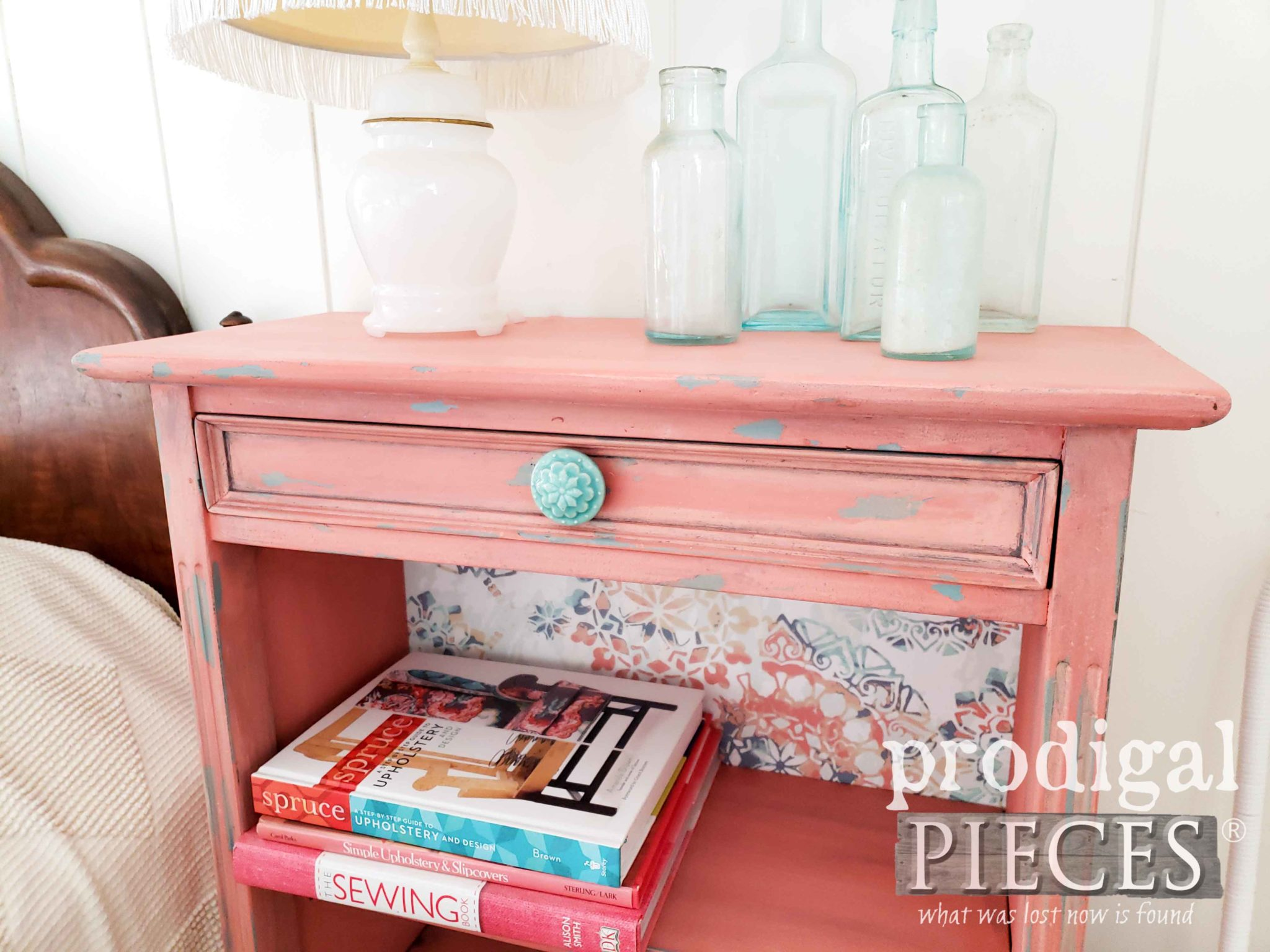 Coral and Teal Vintage Bookcase with a Boho Flair by Larissa of Prodigal Pieces | prodigalpieces.com
