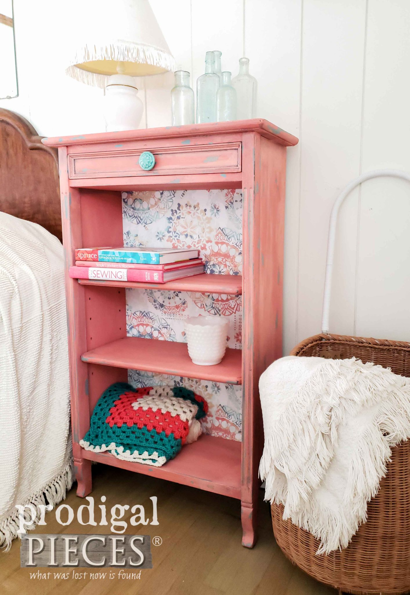 Vintage Bookcase in a Coral Color with Teal Accents by Larissa of Prodigal Pieces | prodigalpieces.com