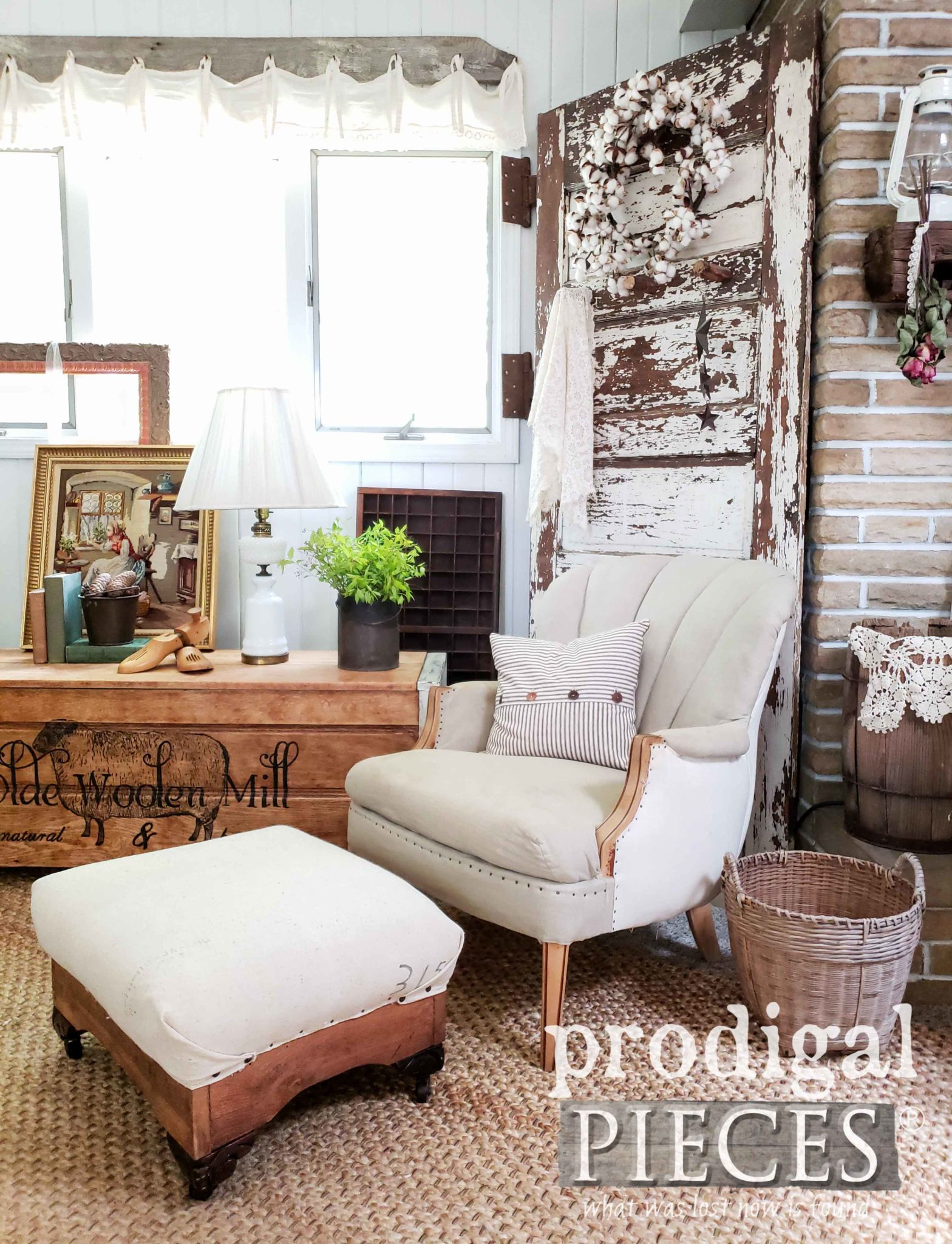 DIY Deconstructed Ottoman and Chair for Rustic Farmhouse Style by Larissa of Prodigal Pieces | prodigalpieces.com