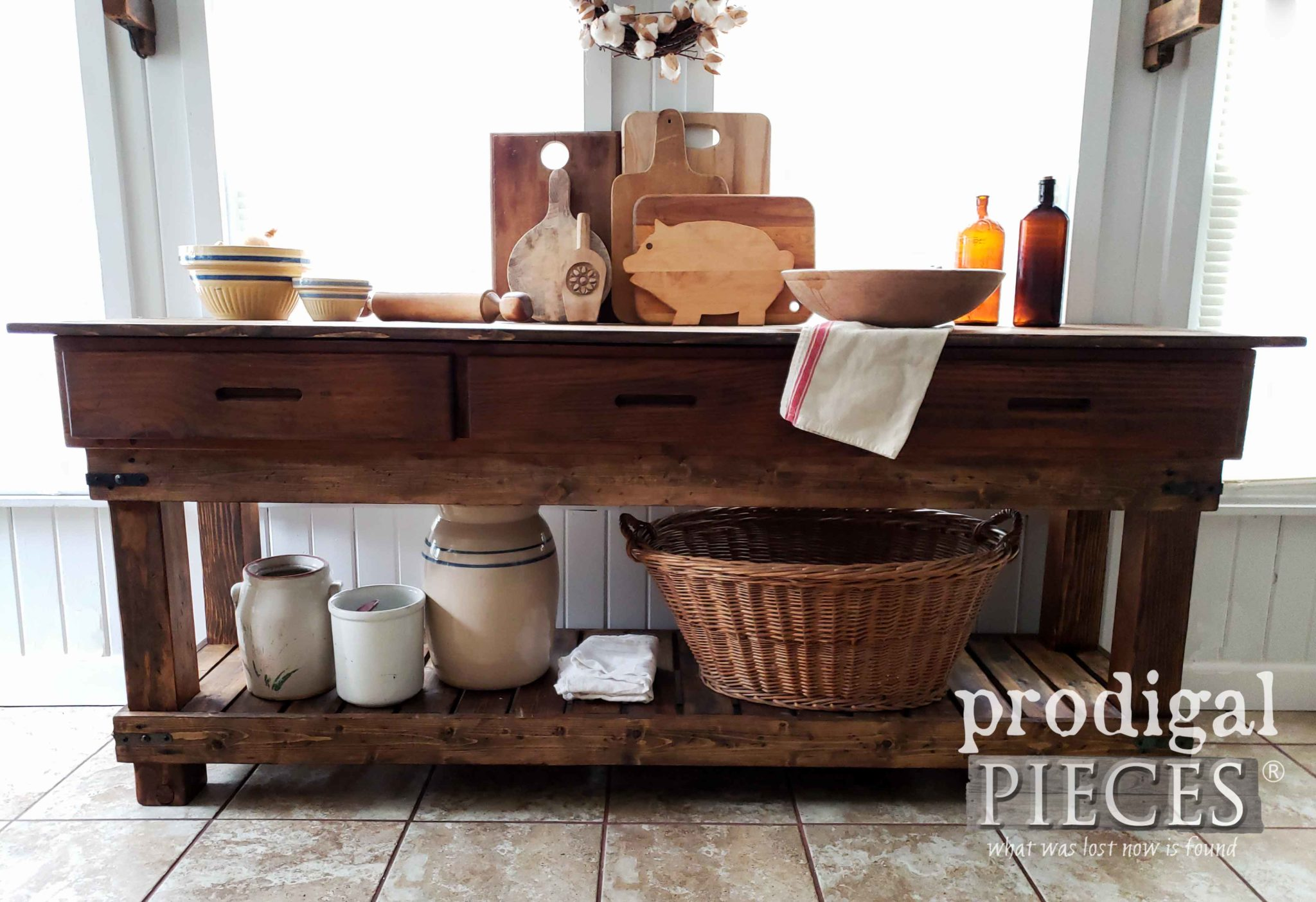 DIY Built Workbench for Kitchen or Entertainment Console by Larissa of Prodigal Pieces | prodigalpieces.com