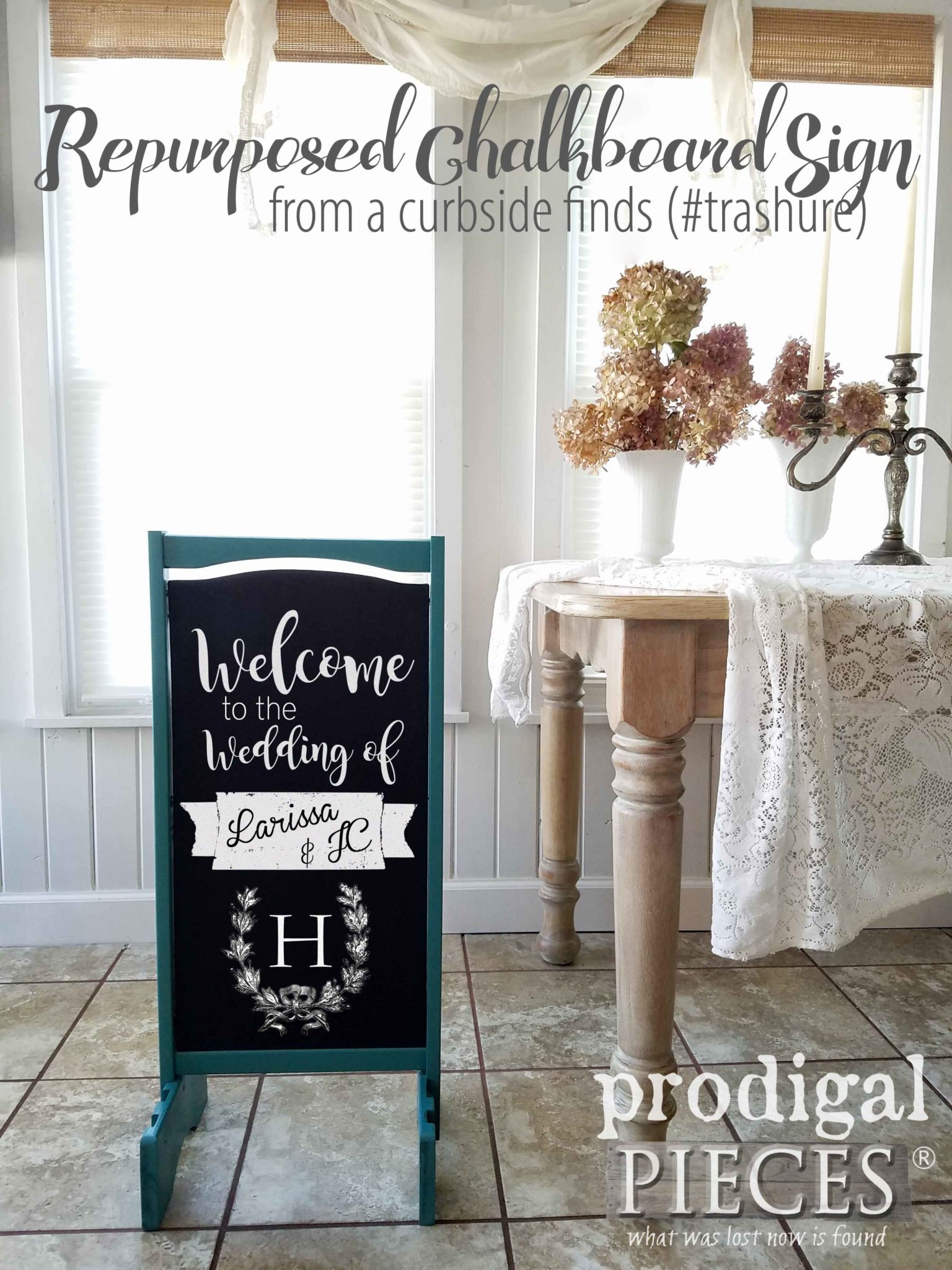 Create this DIY Chalkboard Sign for Wedding, Birthday, Holiday, Shop, Menu and more. DIY tutorial at Prodigal Pieces | prodigalpieces.com