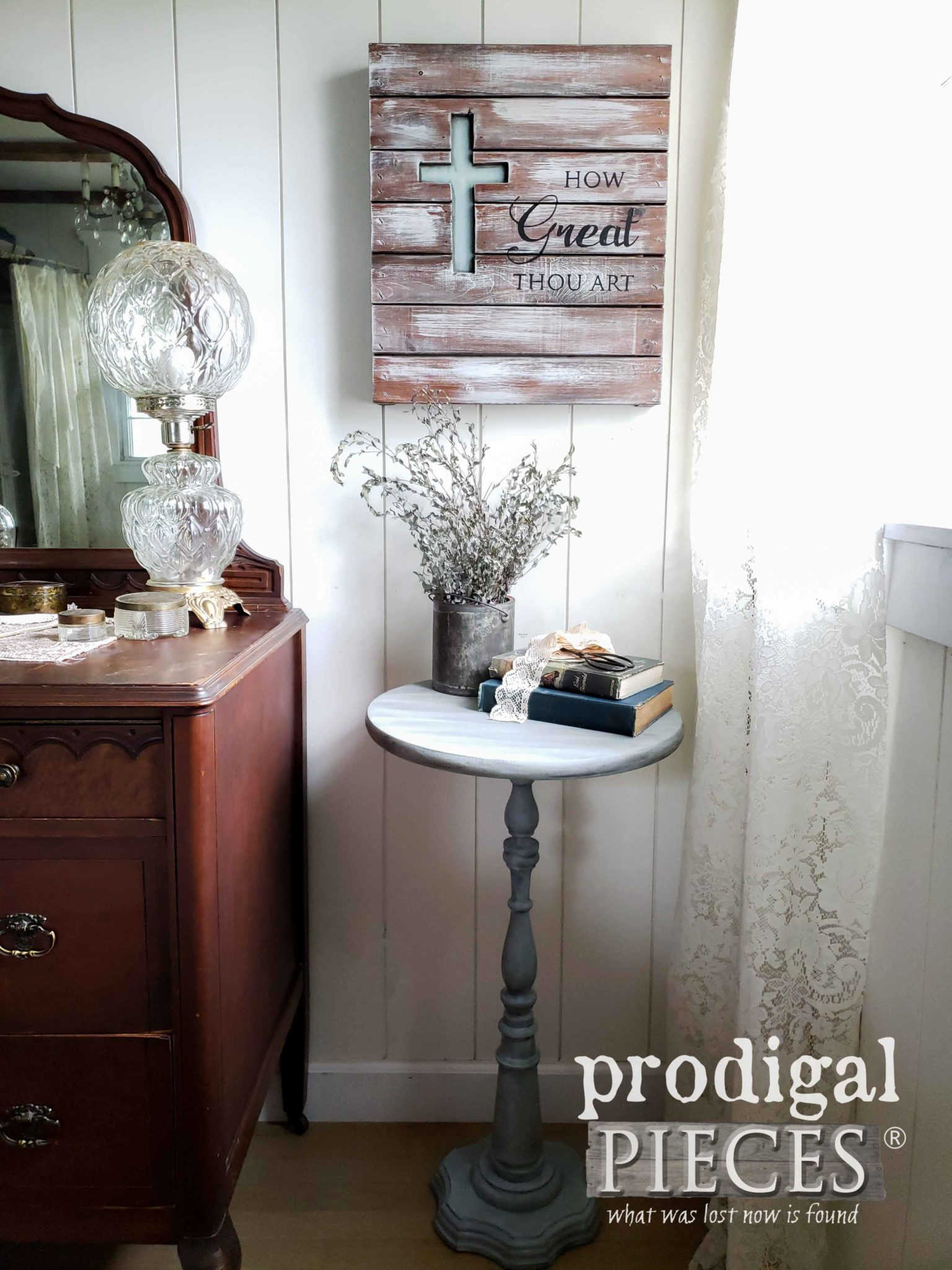 DIY Farmhouse Vignette Created from Thrifted Finds by Larissa of Prodigal Pieces | prodigalpieces.com