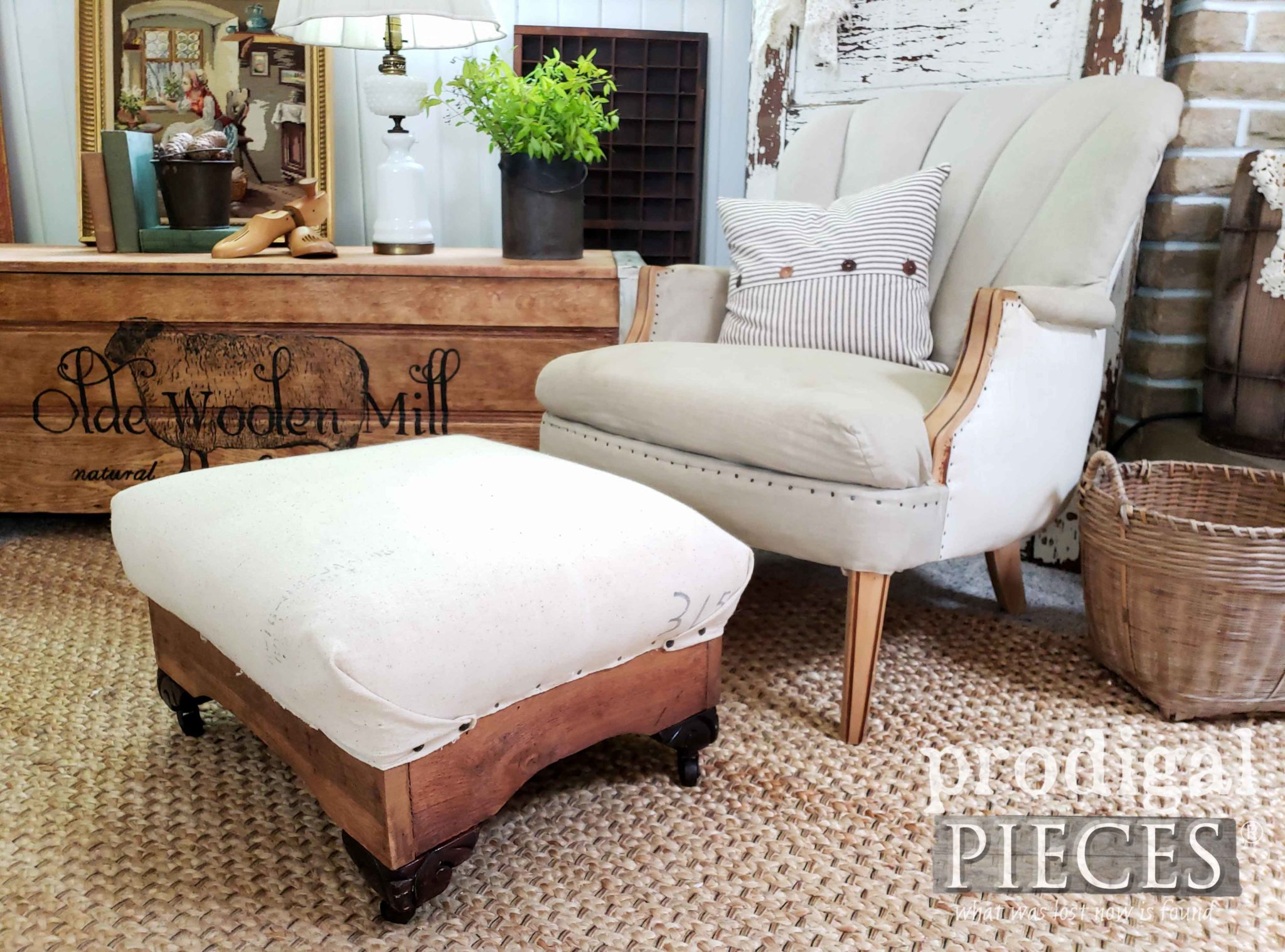 Rustic Farmhouse Style Living Room with Deconstructed Chair and Ottoman by Larissa of Prodigal Pieces | prodigalpieces.com