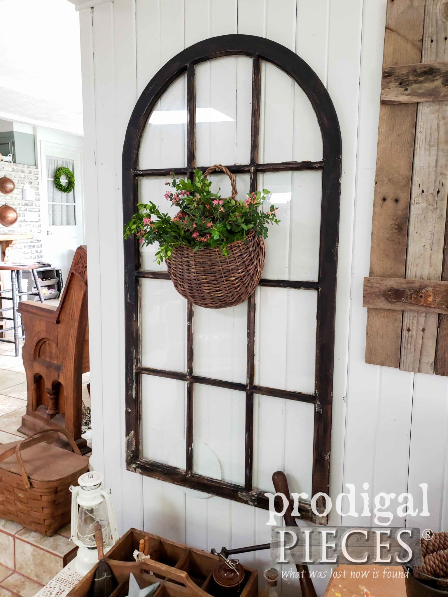 Farmhouse Living Room with Architectural Salvage Decor by Larissa of Prodigal Pieces | prodigalpieces.com