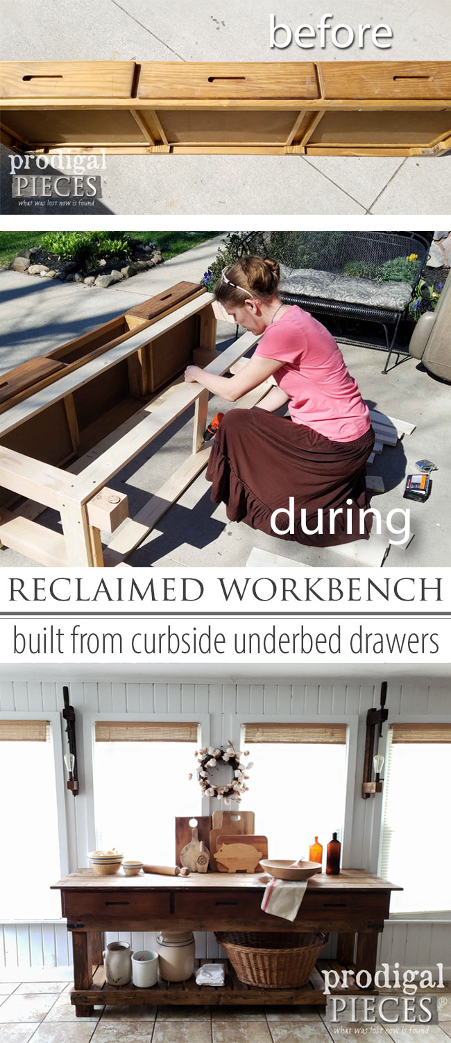 From curbside underbed drawers to a rustic farmhouse workbench for kitchen or console. Larissa of Prodigal Pieces loves taking trash and turning it into #trashure . Come see the DIY details at prodigalpieces.com #prodigalpieces #farmhouse #furniture #homedecor #shopping