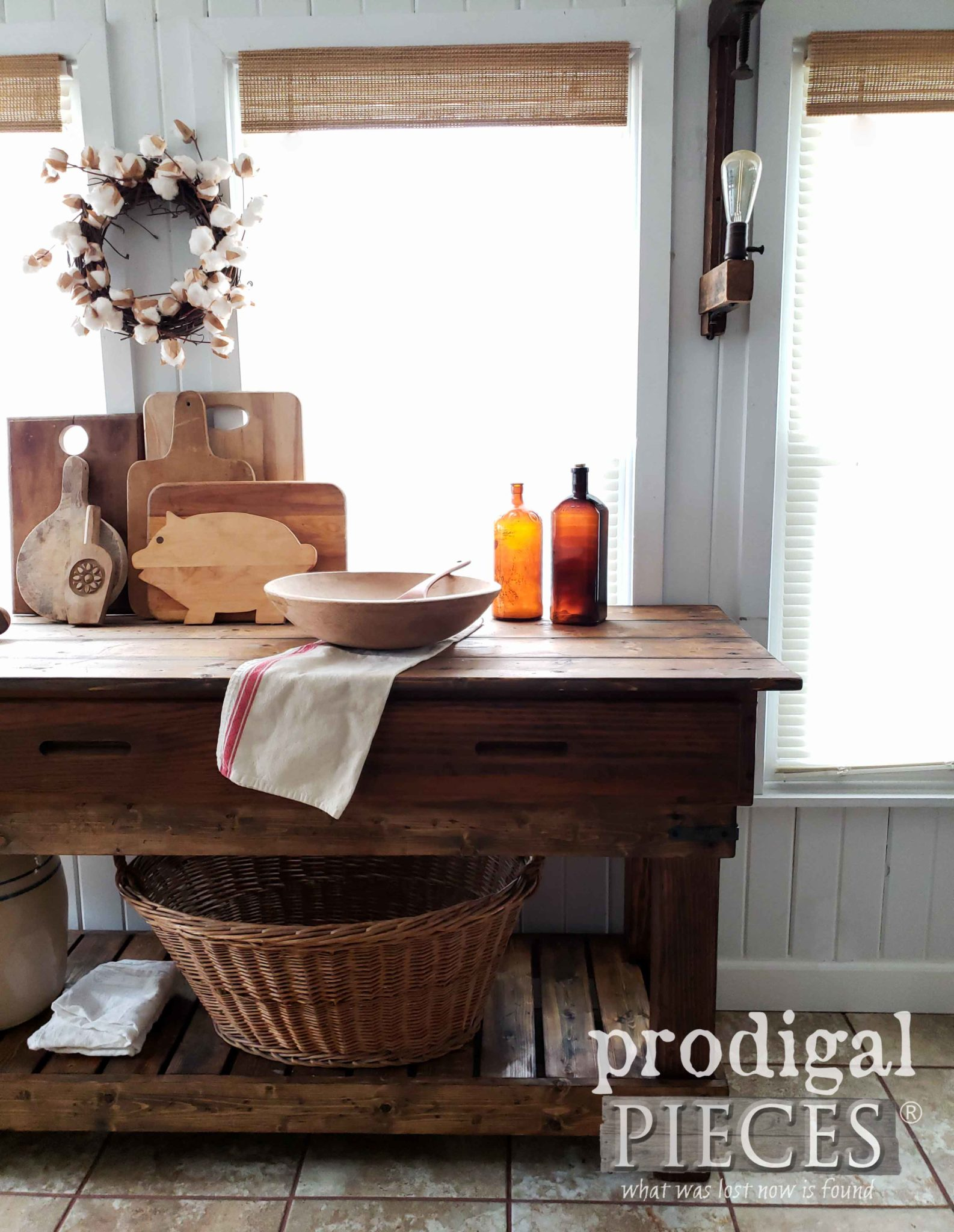 Farmhouse Style Kitchen Workbench or Entry Console by Larissa of Prodigal Pieces | prodigalpieces.com