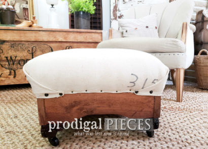 Featured Farmhouse Deconstructed Ottoman with Feed Sack Upholstery by Larissa of Prodigal Pieces | prodigalpieces.com