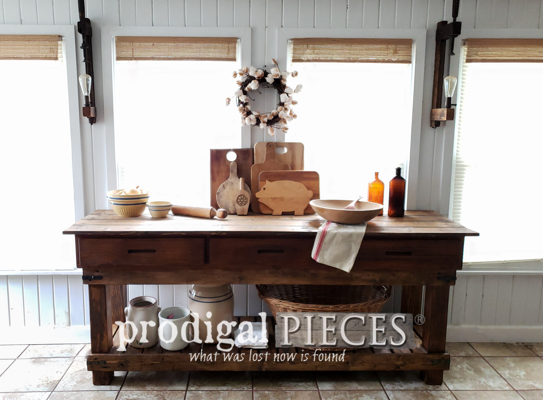 Featured Reclaimed Workbench from Underbed Drawers Built by Larissa of Prodigal Pieces | prodigalpieces.com