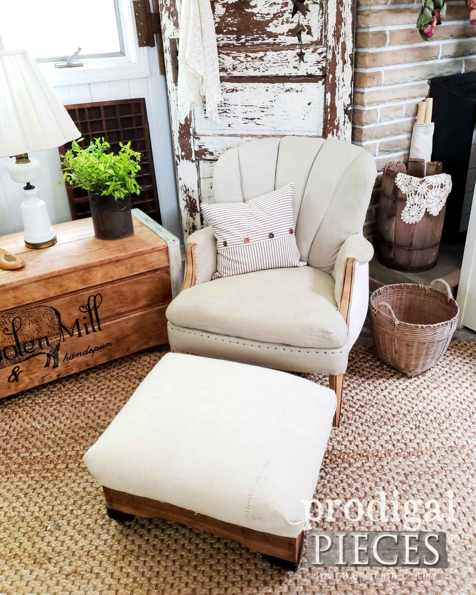 Feed Sack Farmhouse Style Deconstructed Ottoman and Chair by Larissa of Prodigal Pieces | prodigalpieces.com