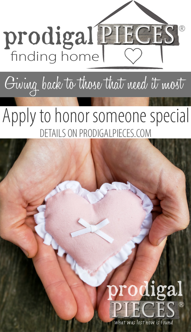 Do you want to honor a special person in your life that deserves a HUG? Finding Home by Prodigal Pieces is taking applications for honorees that will receive a gift like they've never had before. Details at prodigalpieces.com #prodigalpieces #findinghome #furniture
