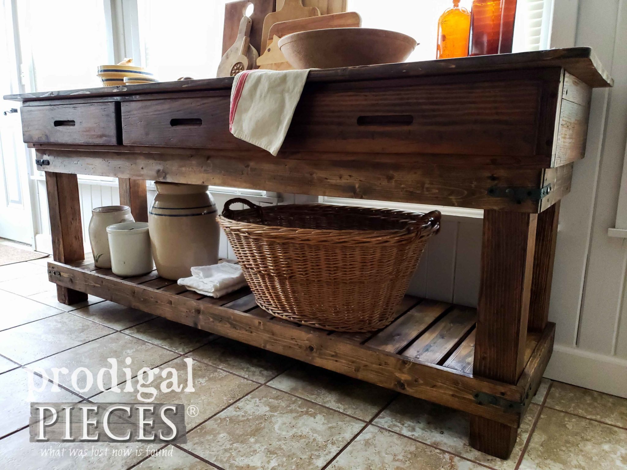 Handmade Farmhouse Workbench Created by Larissa of Prodigal Pieces | prodigalpieces.com