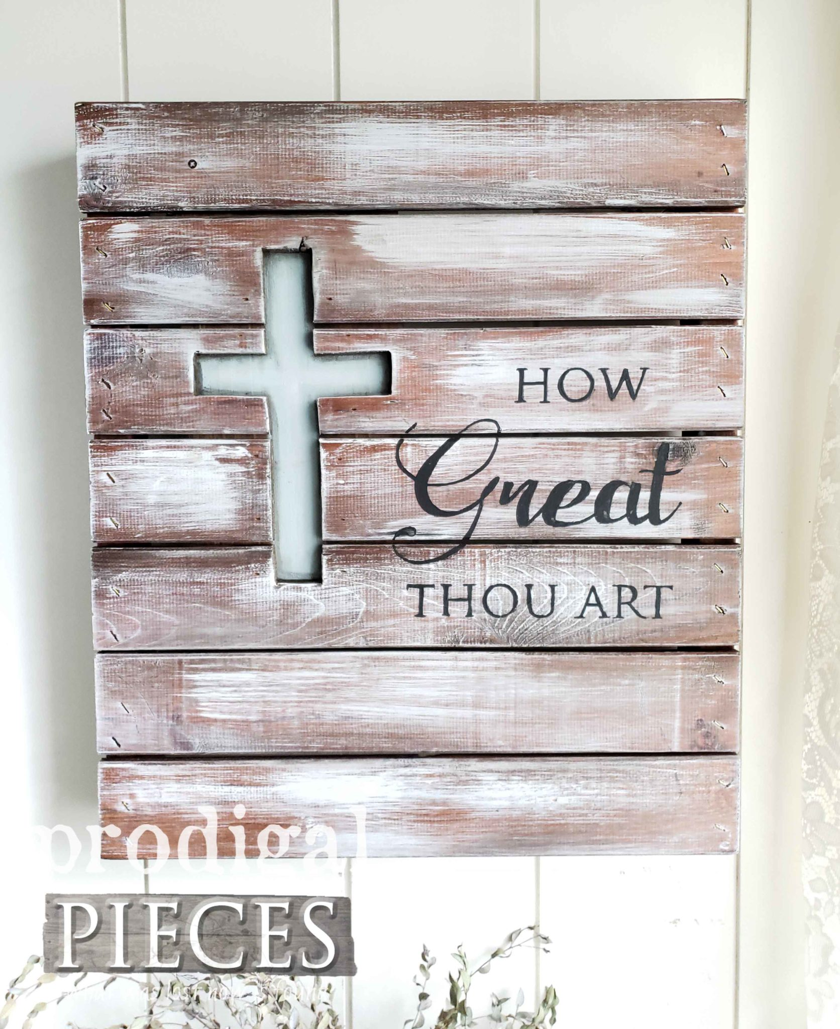 How Great Thou Art Pallet Art by Larissa of Prodigal Pieces | prodigalpieces.com