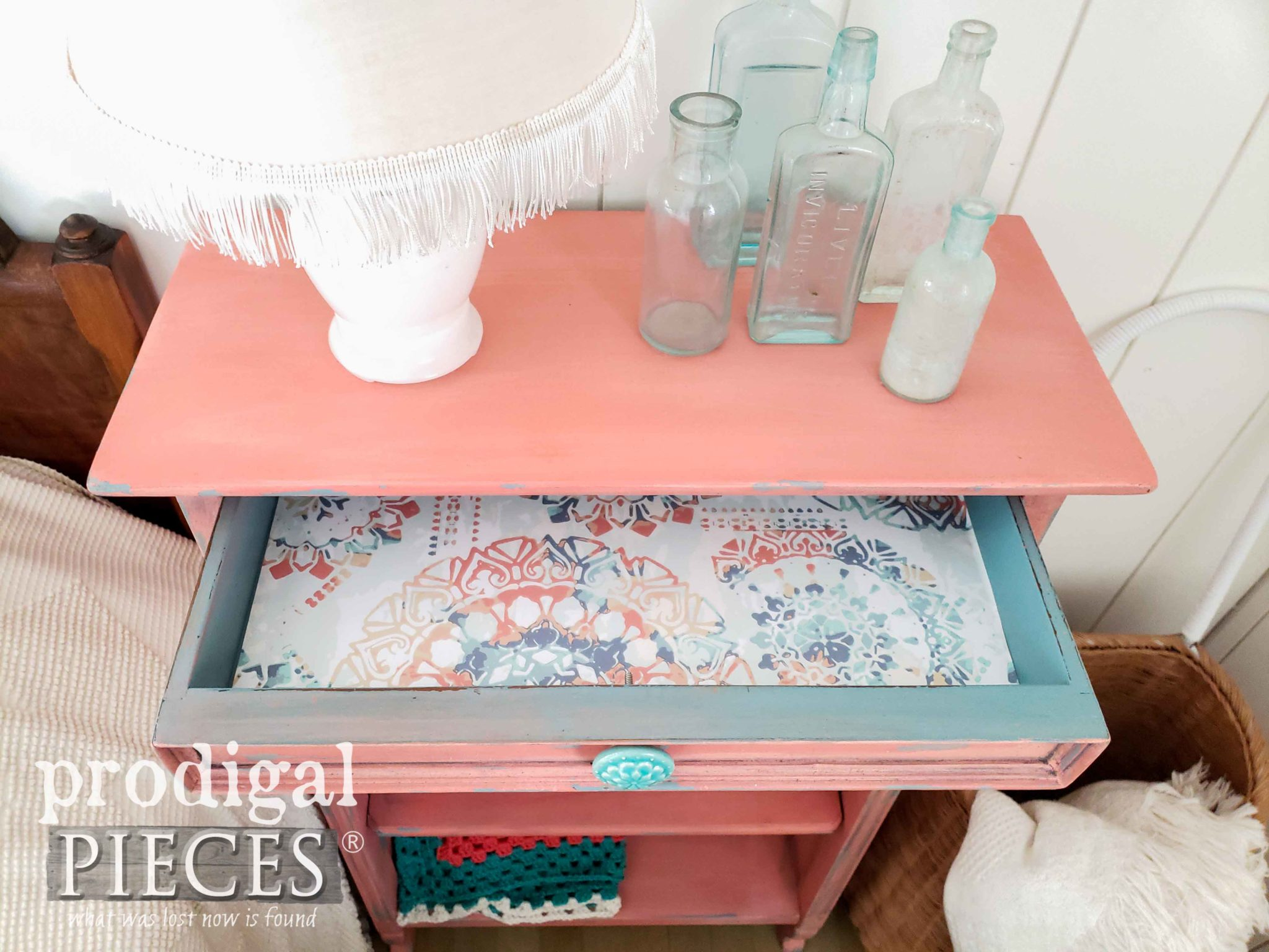 Paper Lined Drawer of Vintage Coral Bookcase for Boho Style by Larissa of Prodigal Pieces | prodigalpieces.com