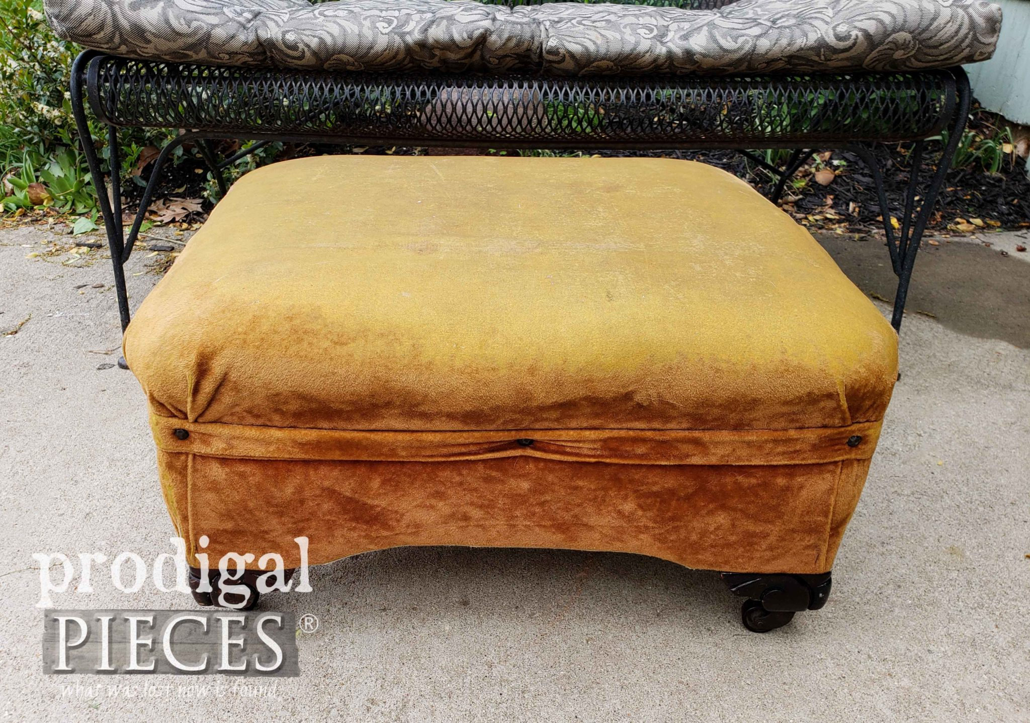 Vintage Ottoman Before Makeover by Prodigal Pieces | prodigalpieces.com