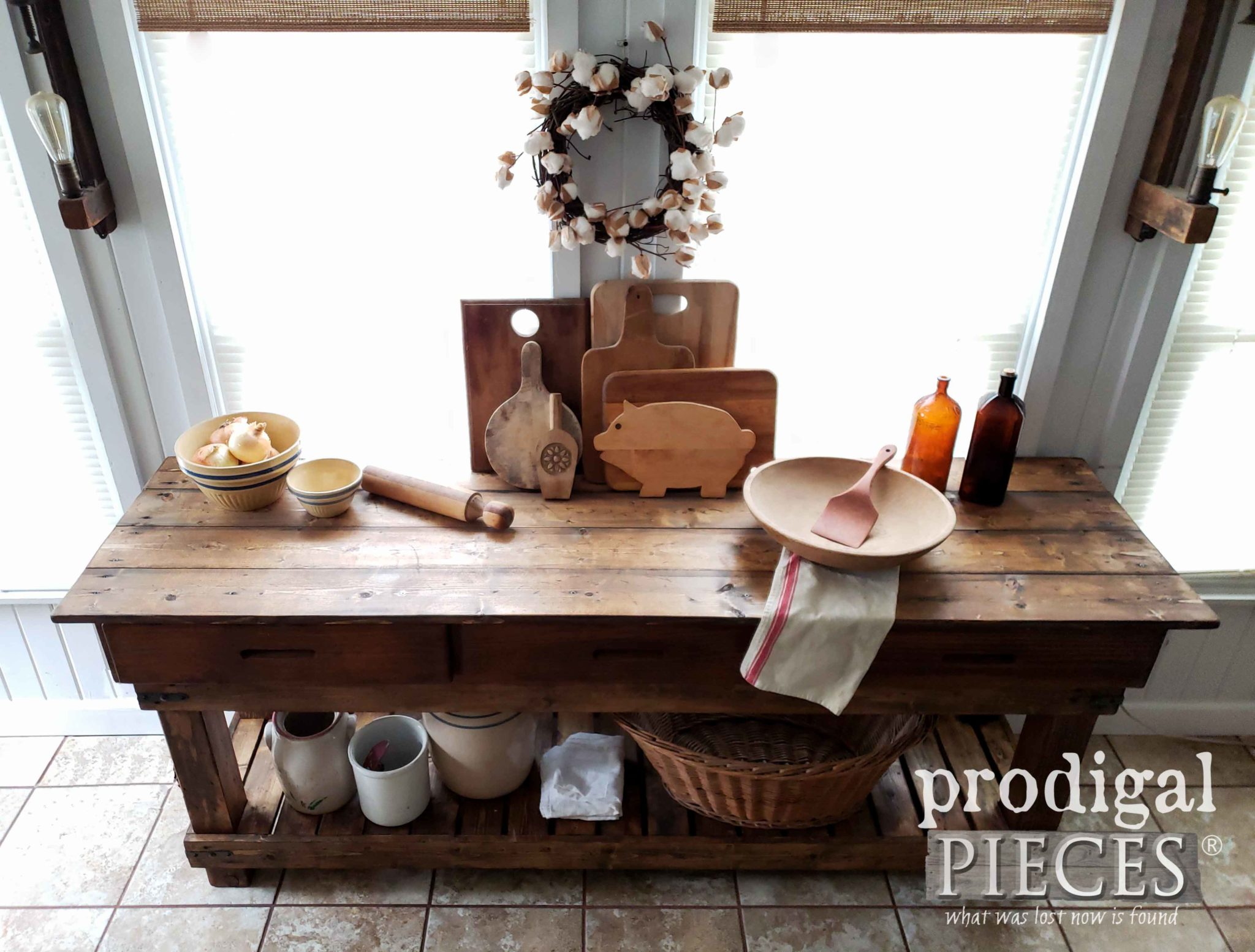 Planked Farmhouse Kitchen Workbench or Console for Entry by Larissa of Prodigal Pieces | prodigalpieces.com