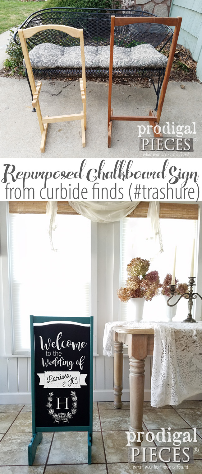 Create a repurposed chalkboard sign from a curbside find (aka. #trashure ) for your wedding, shop, birthday, welcome sign...you get the idea. Get the DIY details at Prodigal Pieces | prodigalpieces.com #prodigalpieces #homedecor #diy #shopping