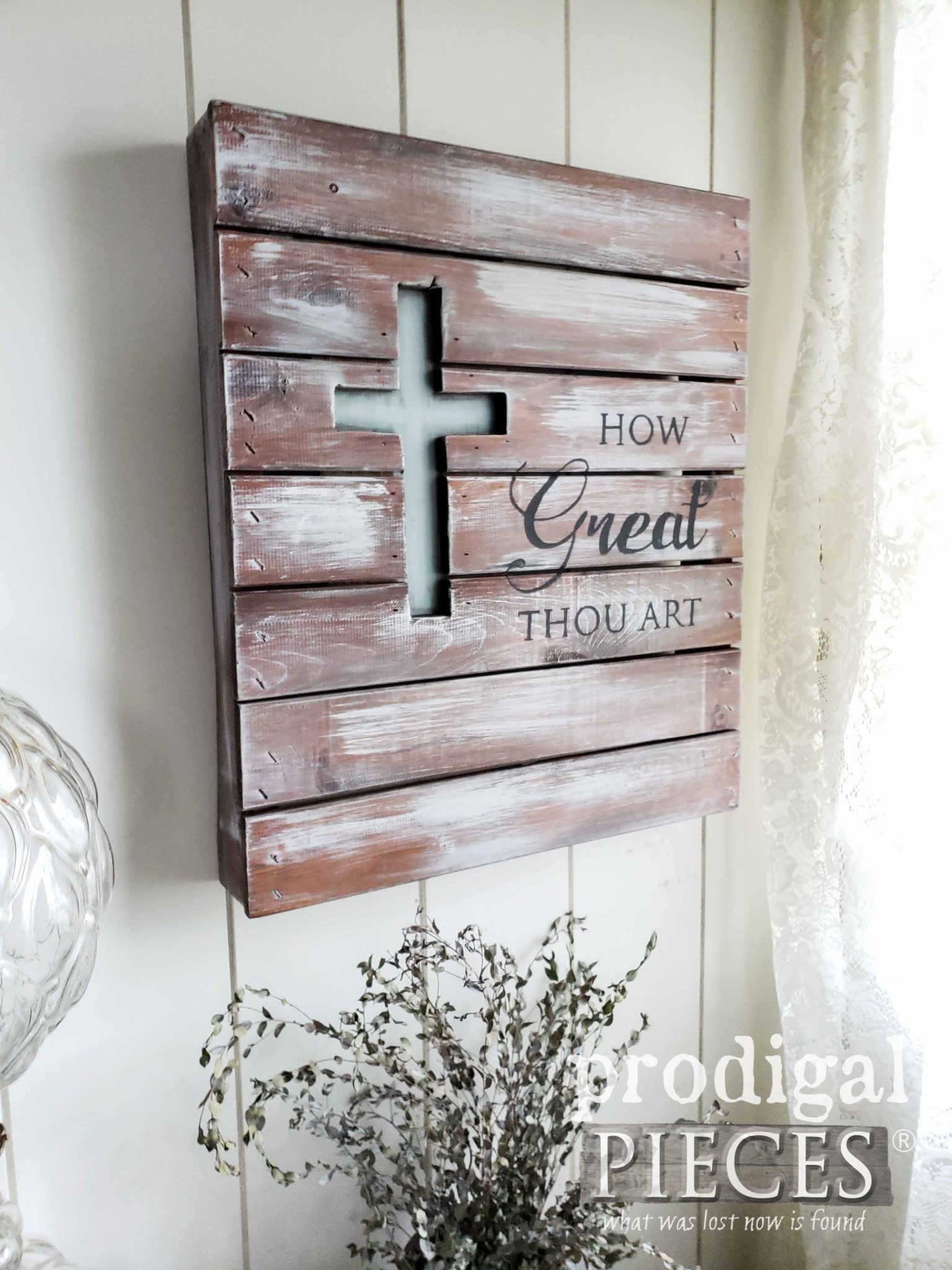 Rustic Pallet Wall Art for Farmhouse Decor | How Great Thou Art Pallet Art by Larissa of Prodigal Pieces | prodigalpieces.com